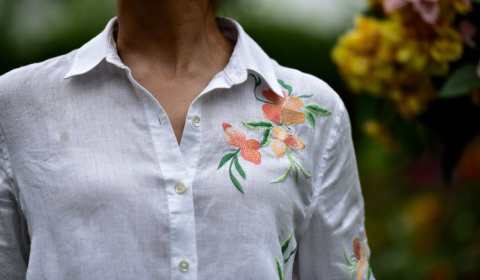 My JJill embroidered linen big shirt. Image©gunjanvirk