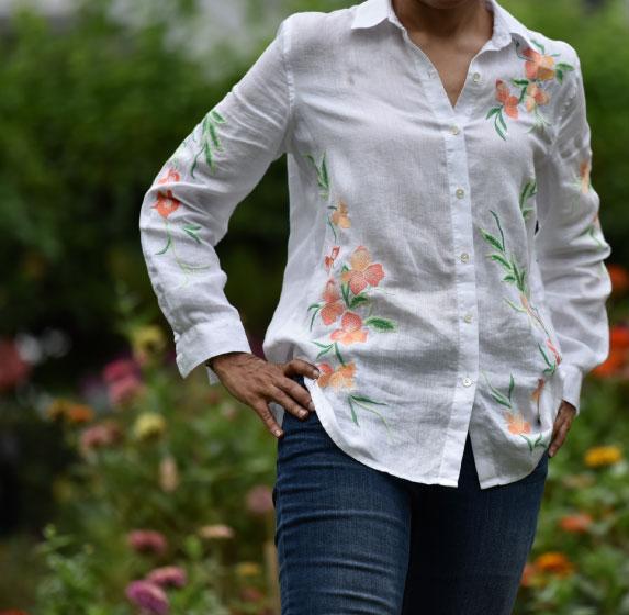 My Jjill linen big shirt and Jjill slim ankle jeans, image©gunjanvirk