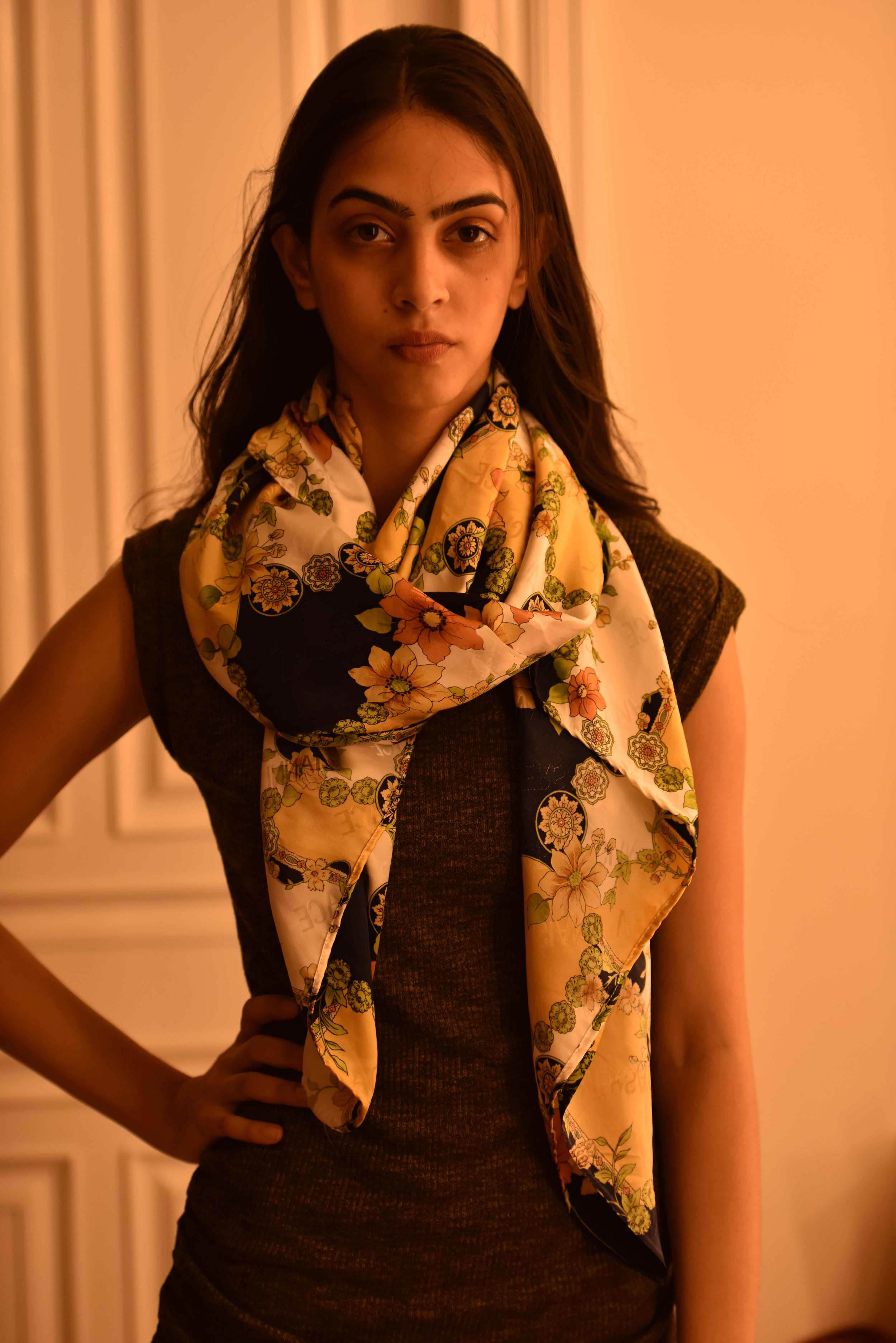 just another way of tying a scarf! Versace scarf, model: Mannat Dhaliwal, image©gunjanvirk.
