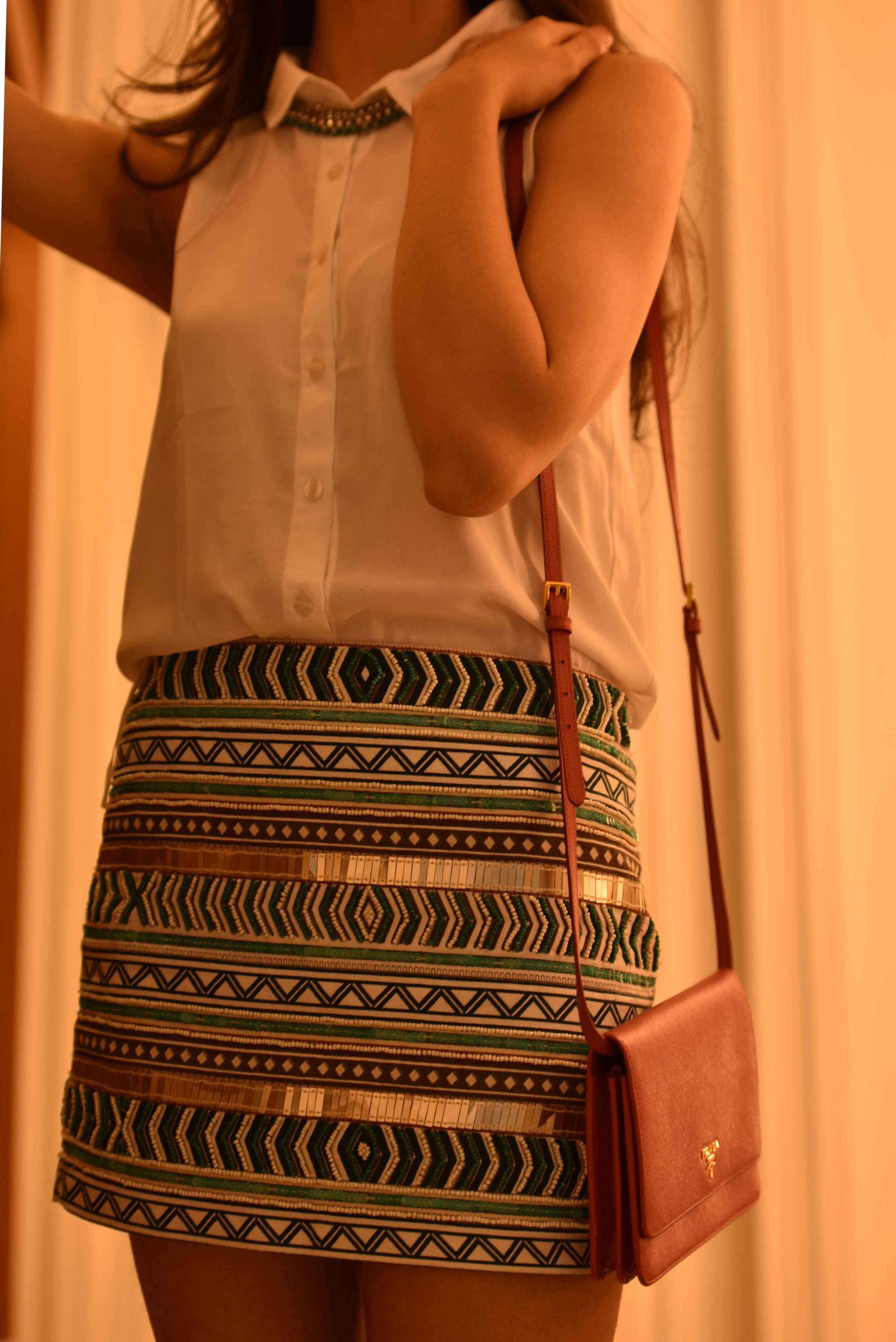 Zara mini-skirt with Prada bag. Image©gunjanvirk, Model: Mannat Dhaliwal