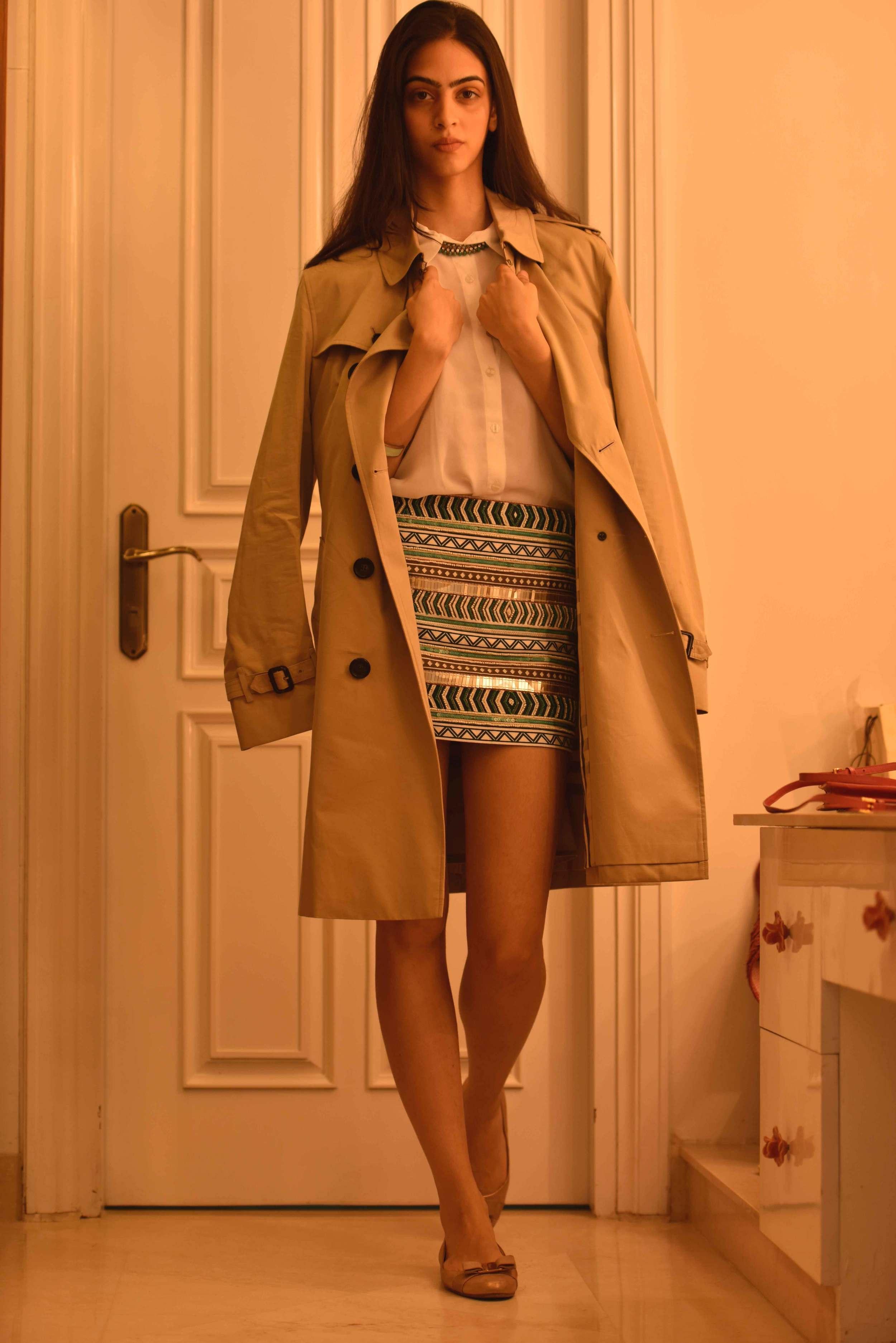 Zara mini-skirt, Ferragamo ballet flats and a Burberry trench. Image©gunjanvirk, Model: Mannat Dhaliwal.