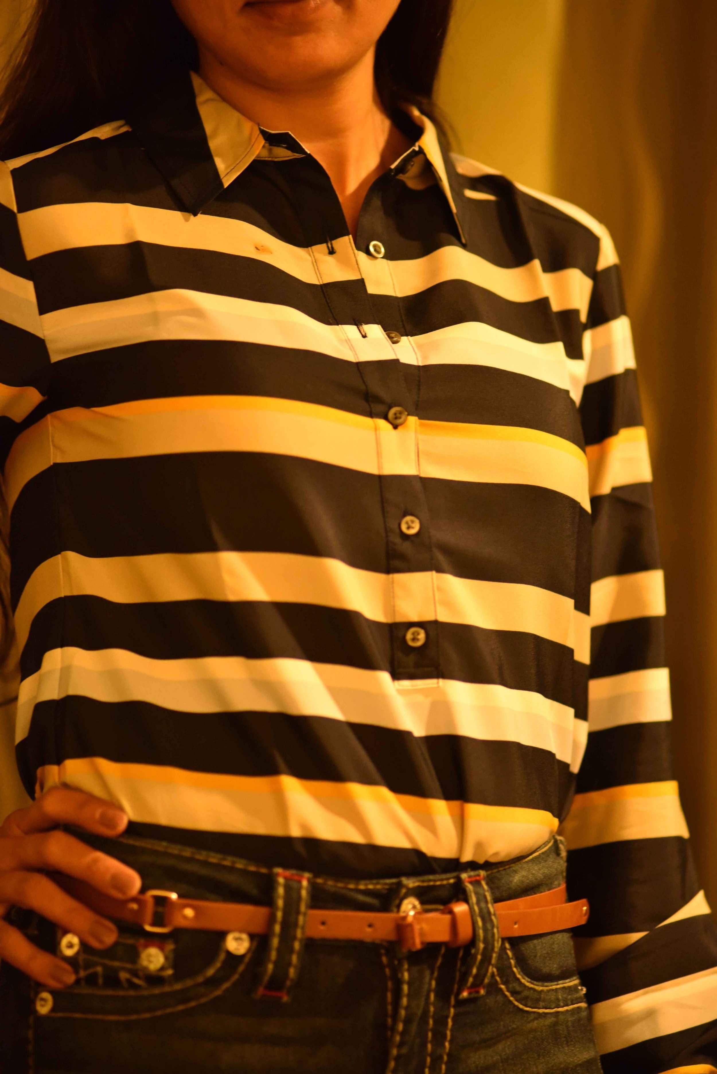 True Religion jean leggings with an Ann Taylor striped top. Image©gunjanvirk