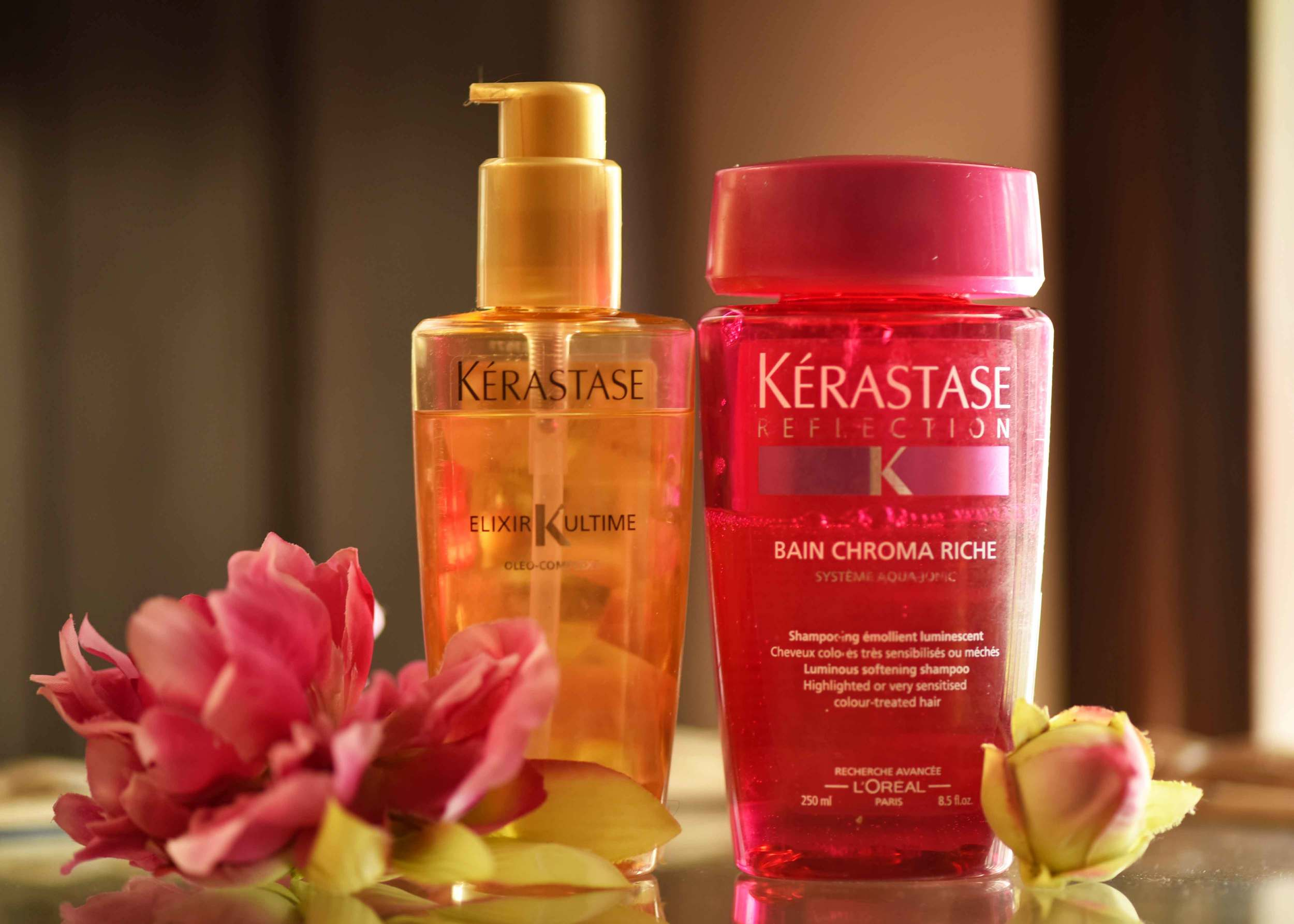 Kerastase Elixir Ultime oil and Kerastase Reflection Bain Chroma Rich shampoo. Image©gunjanvirk