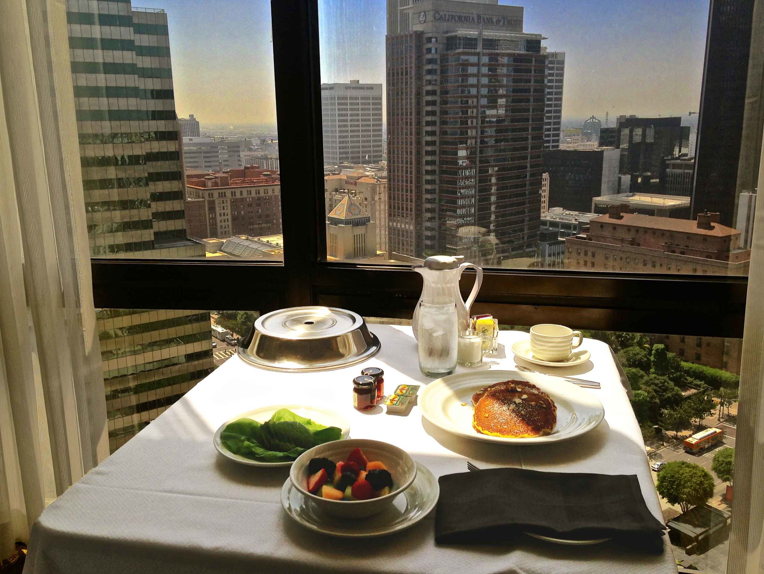 Breakfast in room, in-room dining, Westin Bonaventure, L.A. Image©sourcingstyle.com