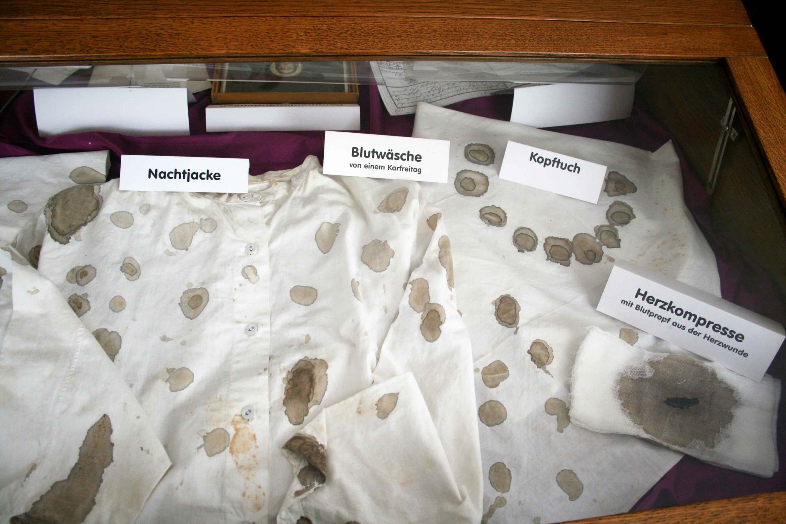 The clothes of Saint Therese Neumann in which she experienced her suffering, Konnersreuth, Bavaria, Germany.