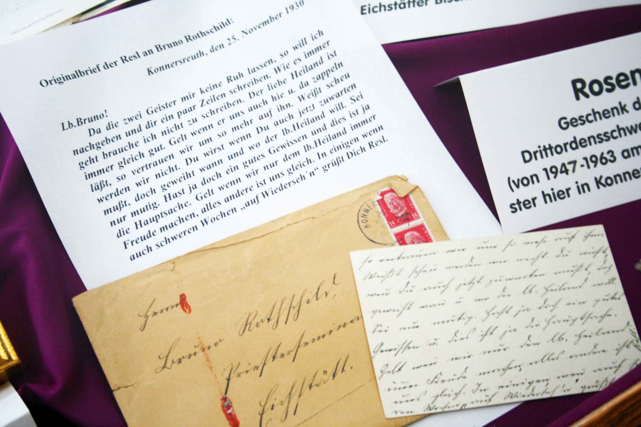 Hand written letters of Saint Therese Neumann, Konnersreuth, Bavaria, Germany.