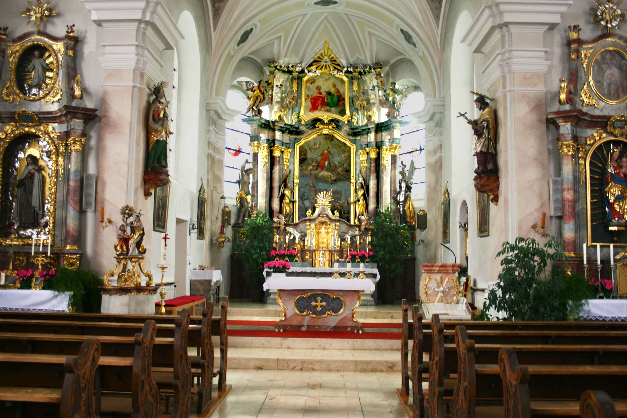 Image©sourcingstyle.com, the interiors of the church in Konnersreuth where Saint Therese Neumann used to pray, Bavaria, Germany.