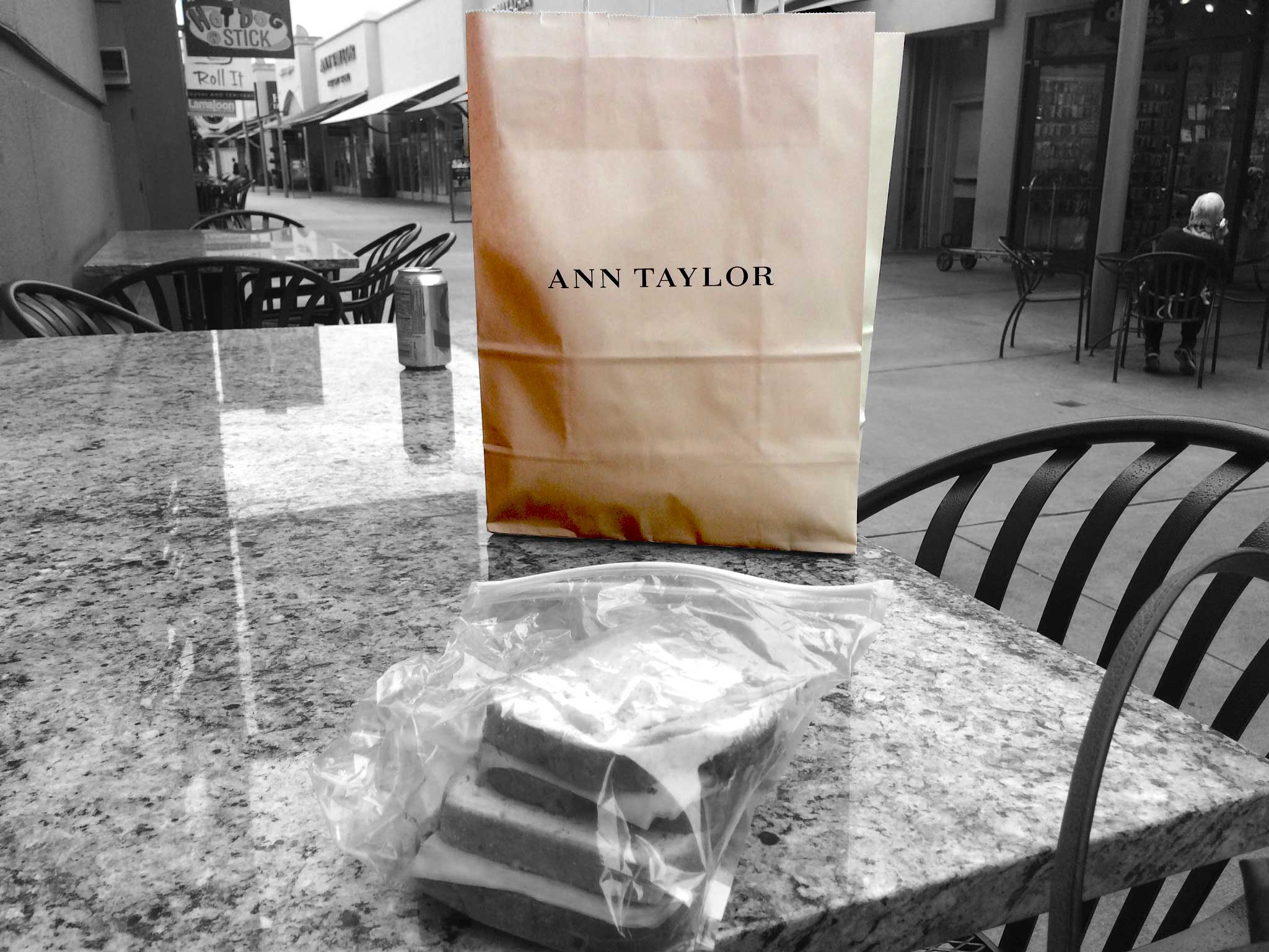 Just came out of Ann Taylor-bought 3 modal full-sleeved tees for the price of one! Now time for a sandwich! Citadel Outlets, LA, CA, USA. Image©gunjanvirk