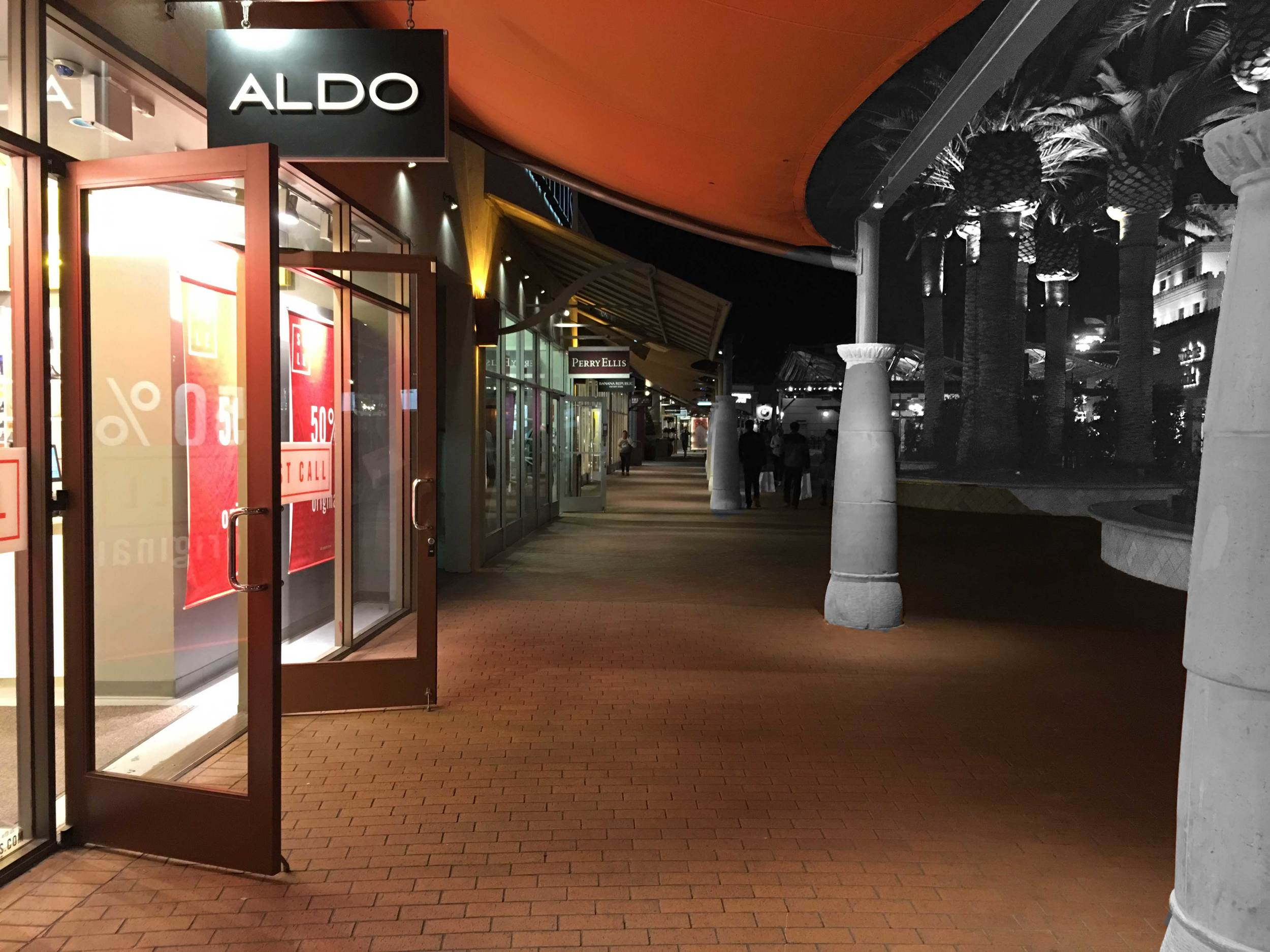 Aldo, Perry Ellis and other stores at the Citadel Outlets, CA, USA. Image©gunjanvirk