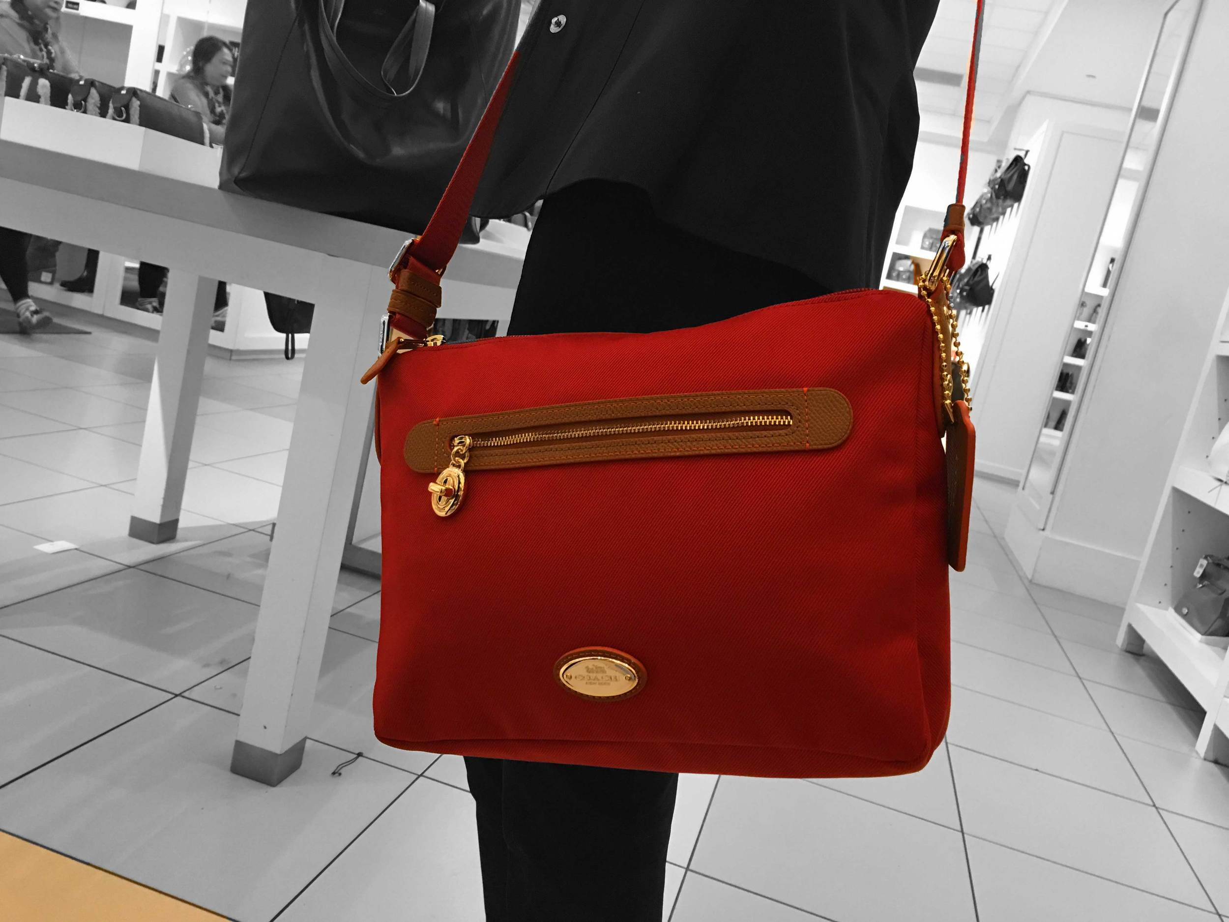 My sister-in-law has babies so this cross body should be convenient and I love the color--it's trending now! Coach Store, Citadel Outlets, LA, CA, USA. Image©gunjanvirk