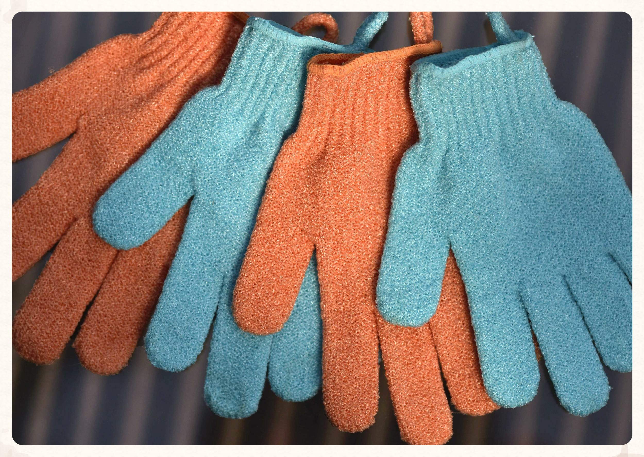 Scrub gloves from Bodyshop, get a different color for the feet! Image©gunjanvirk
