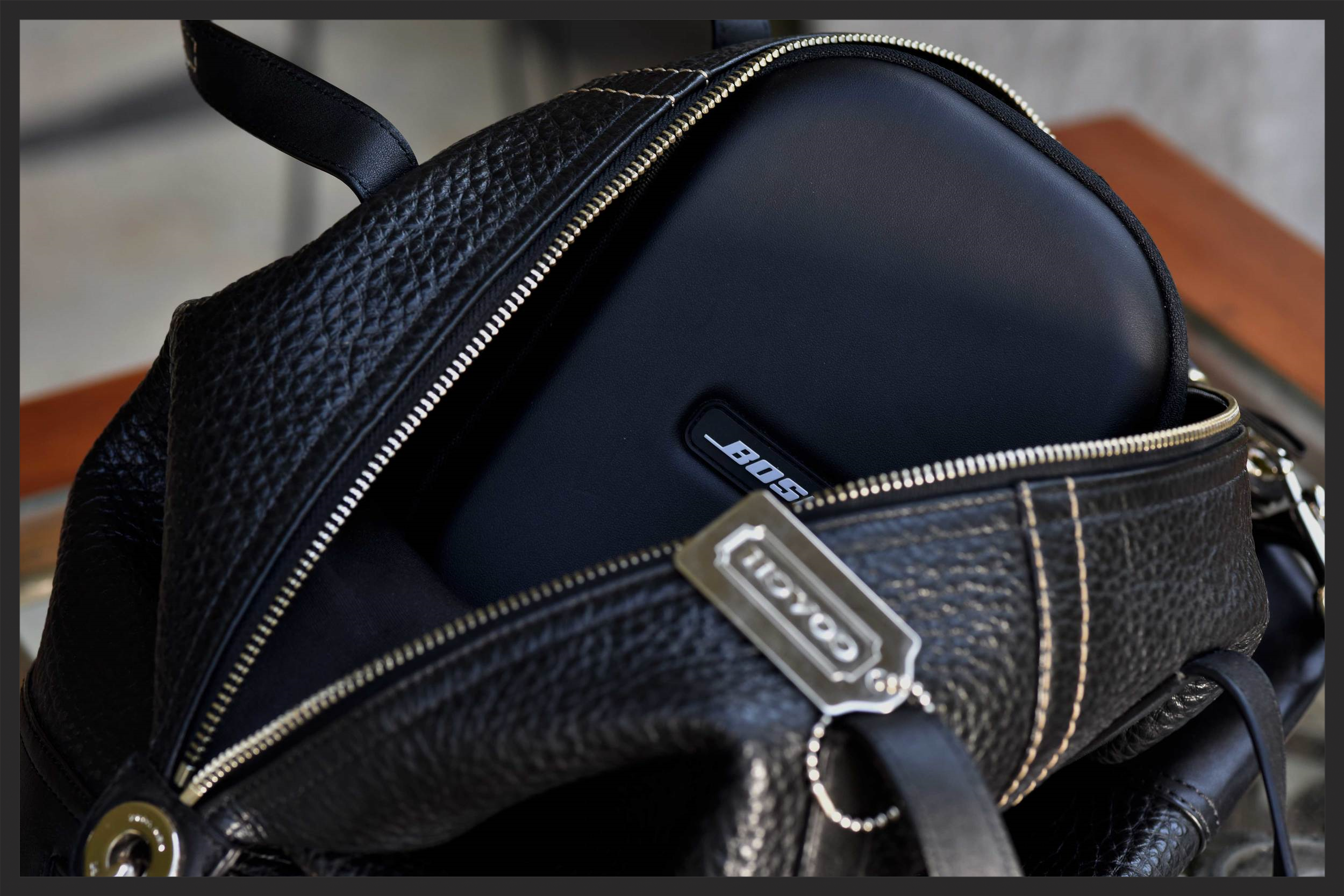 My Coach Satchel with Bose Headphone. Image©sourcingstyle.com