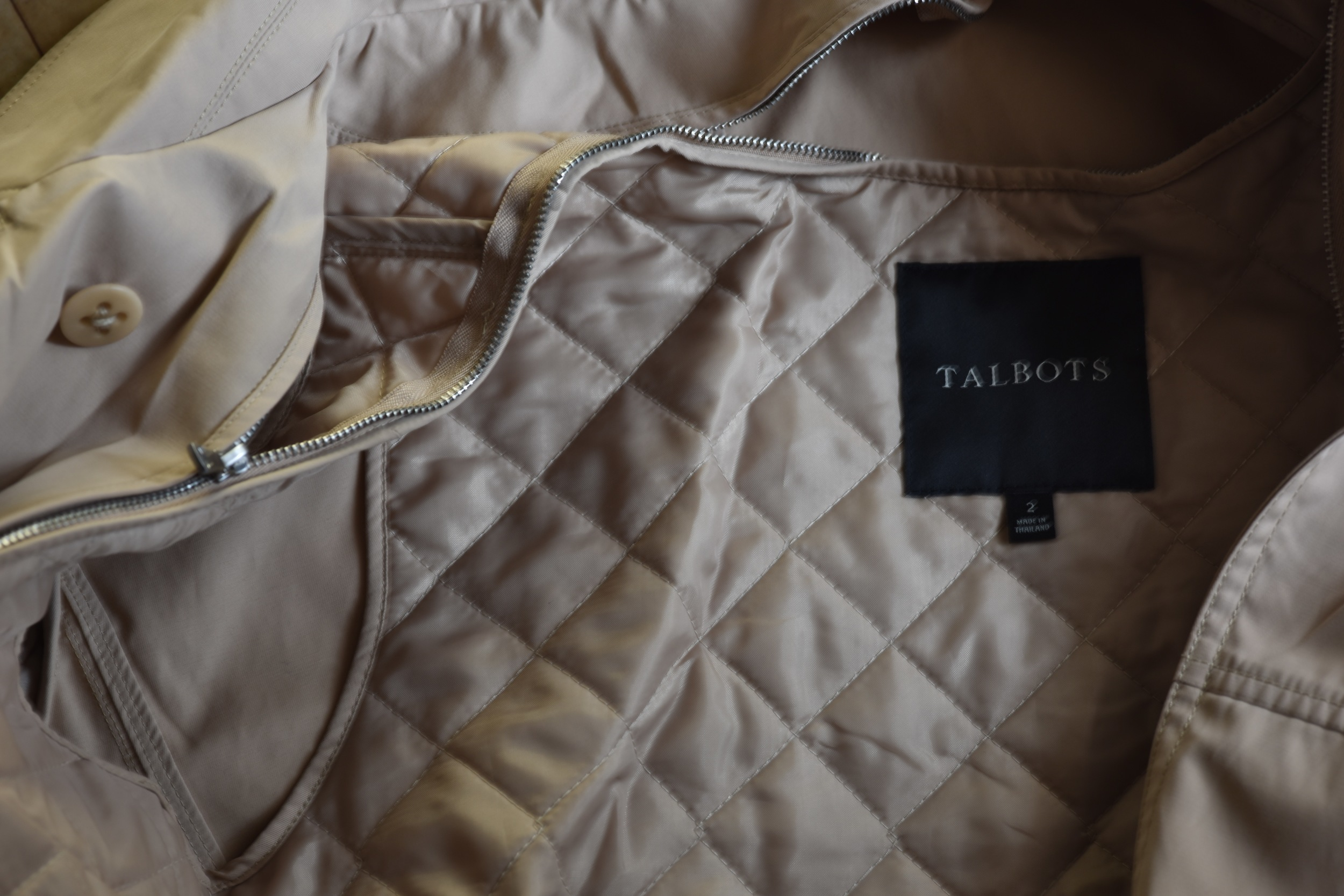 My Talbots Trench has a removable quilted lining that can be zipped up when it gets cold or taken off for warm weather! Image©gunjanvirk