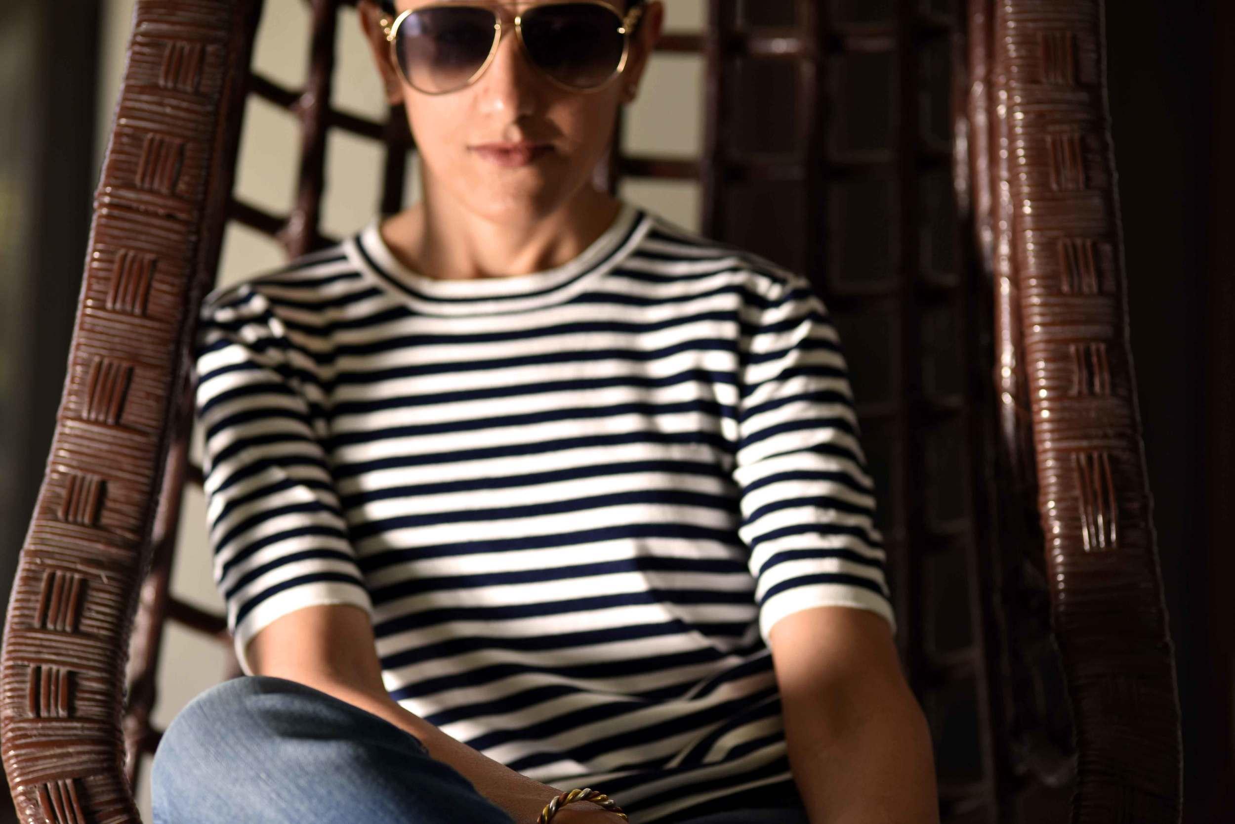 My Zara striped sweater. Shades are Gucci. Image©gunjanvirk