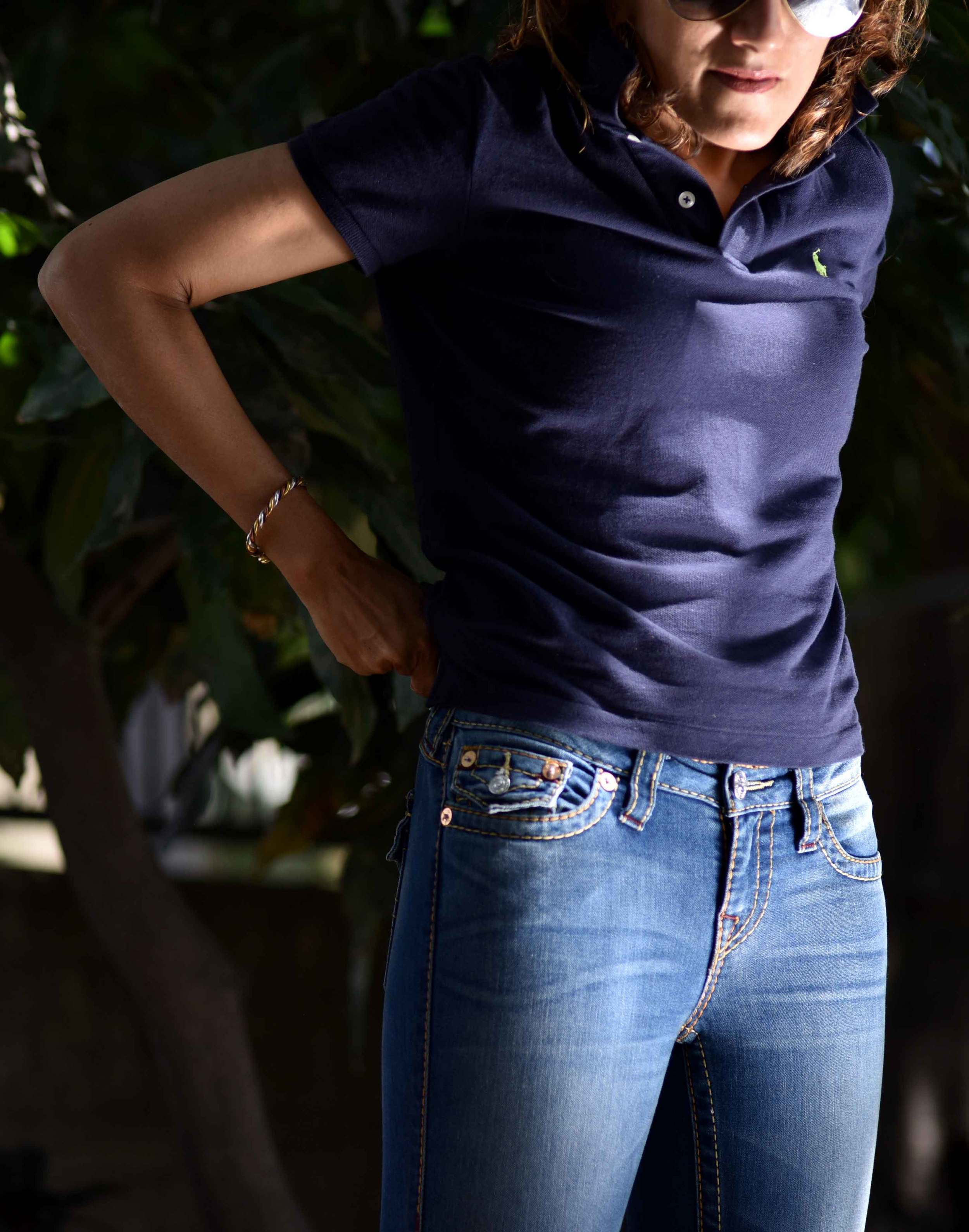 Ralph Lauren Skinny Polo, size M (I am a US size 2 on top) with True Religion Jeans. Image©gunjanvirk