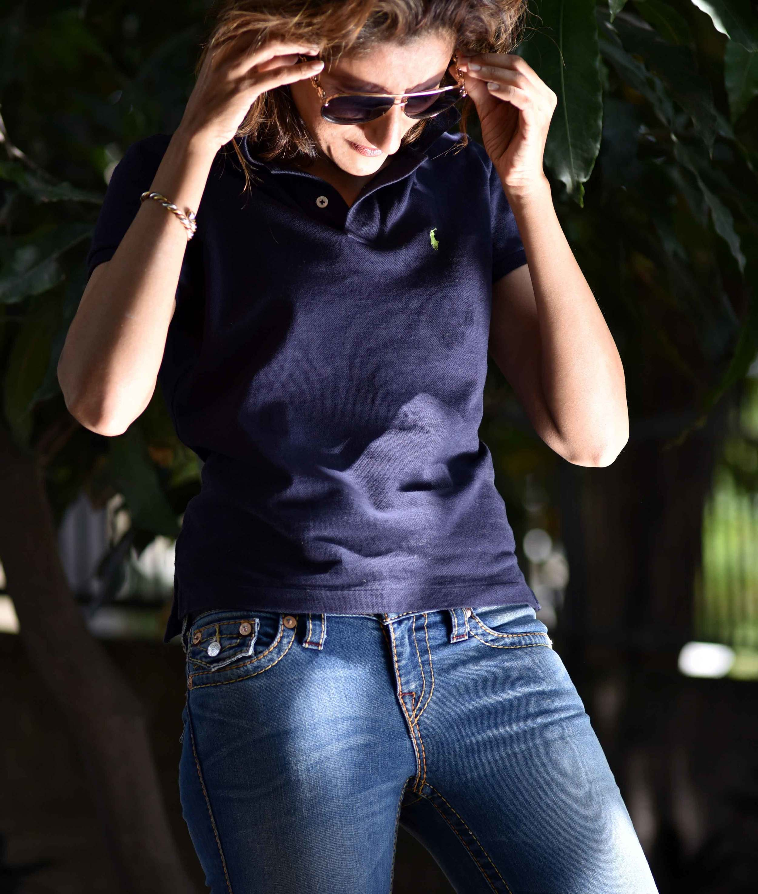 Ralph Lauren Skinny Polo, size M (I am a US size 2 on top) with True Religion Jeans and my Gucci shades. Image©gunjanvirk