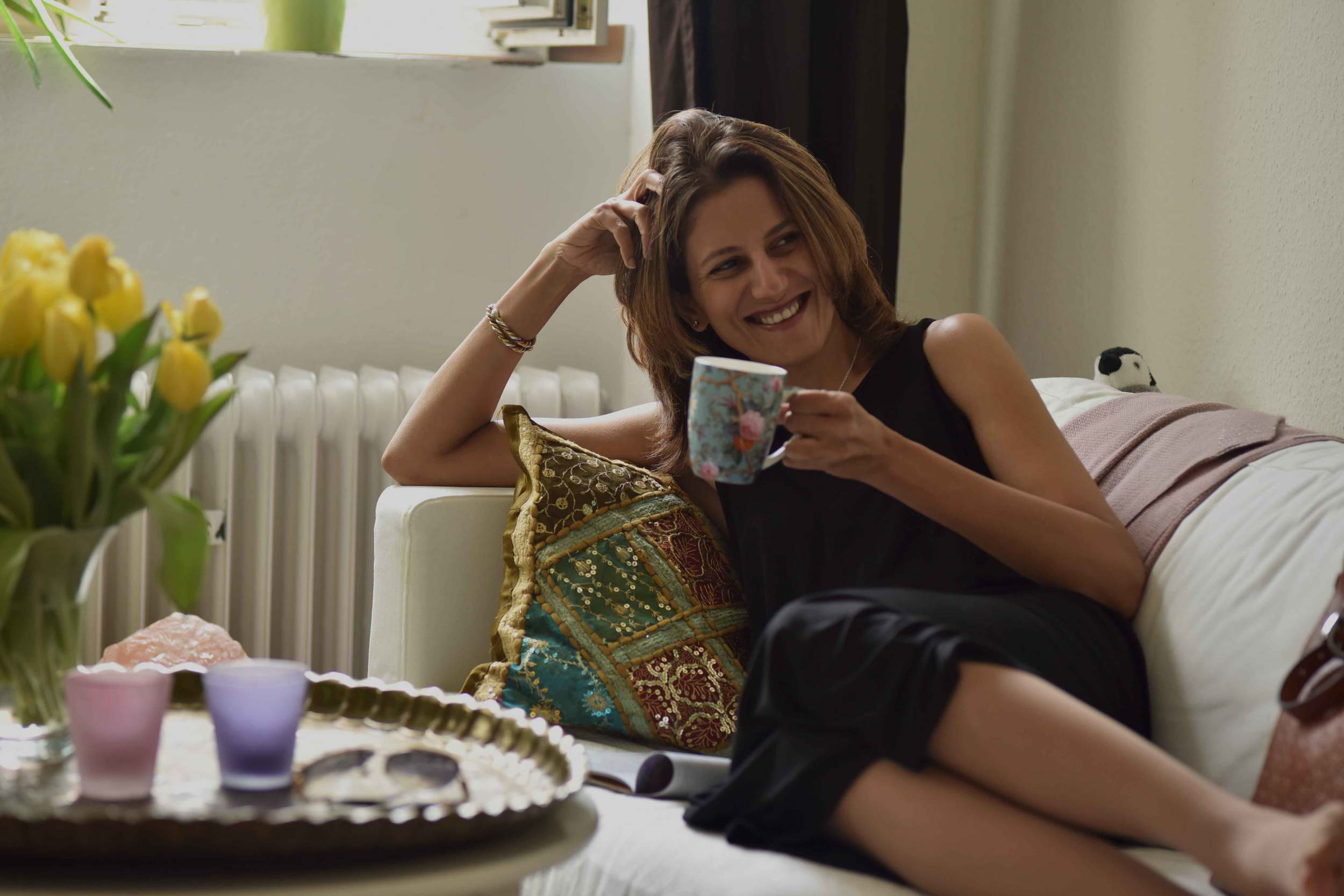 Waking up to a cup of coffee in my Eileen Fisher black tank dress in viscose jersey, little black dress. Image©sourcingstyle.com, Photo: Nicola Nolting.