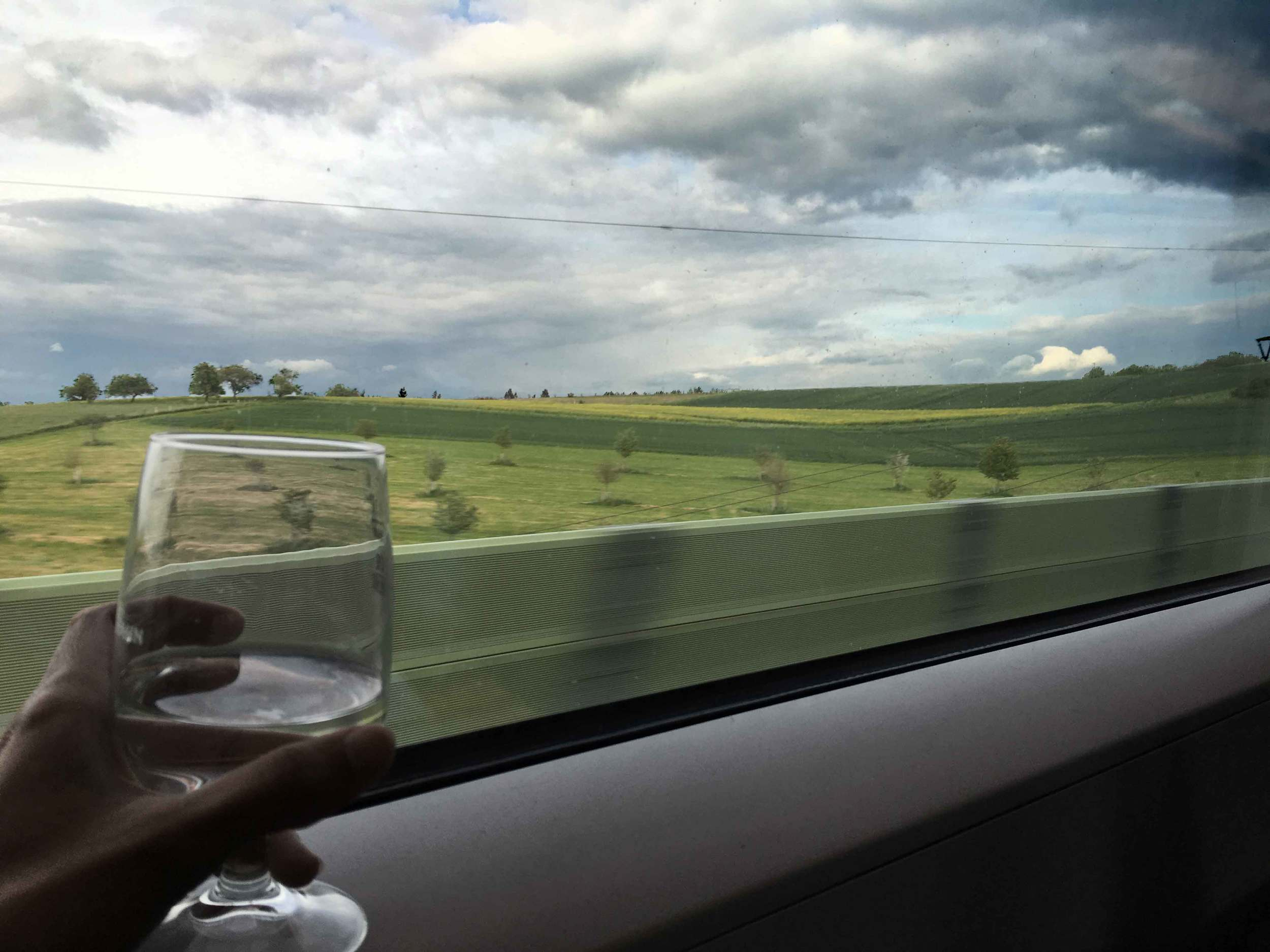 Scenic views from the ICE,Inter City Express, German Rail Service, Deutsche Bahn first class compartment. Image©sourcingstyle.com
