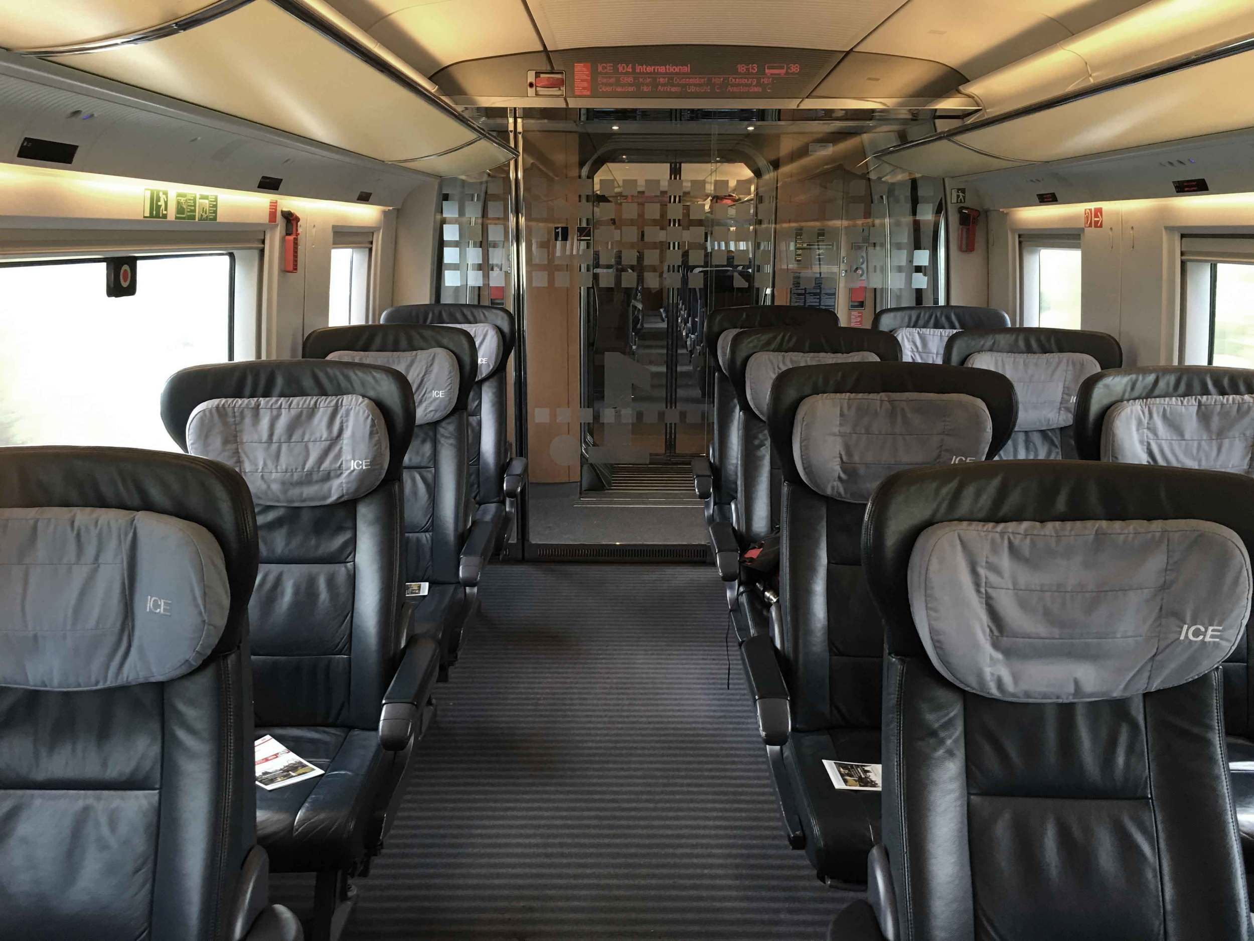 First class compartment, German ICE train, Inter City Express, Deutsche Bahn, Germany. Image©sourcingstyle.com