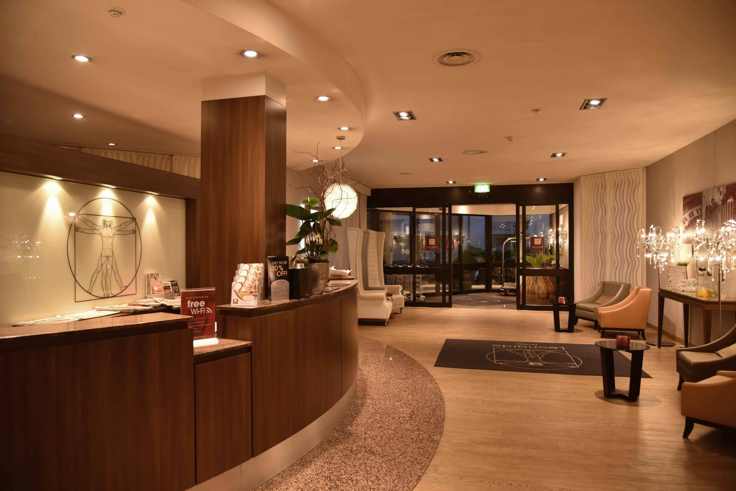 Front desk, reception area, lobby, Leonardo Royal hotel, Baden Baden, Germany. Image©sourcingstyle.com