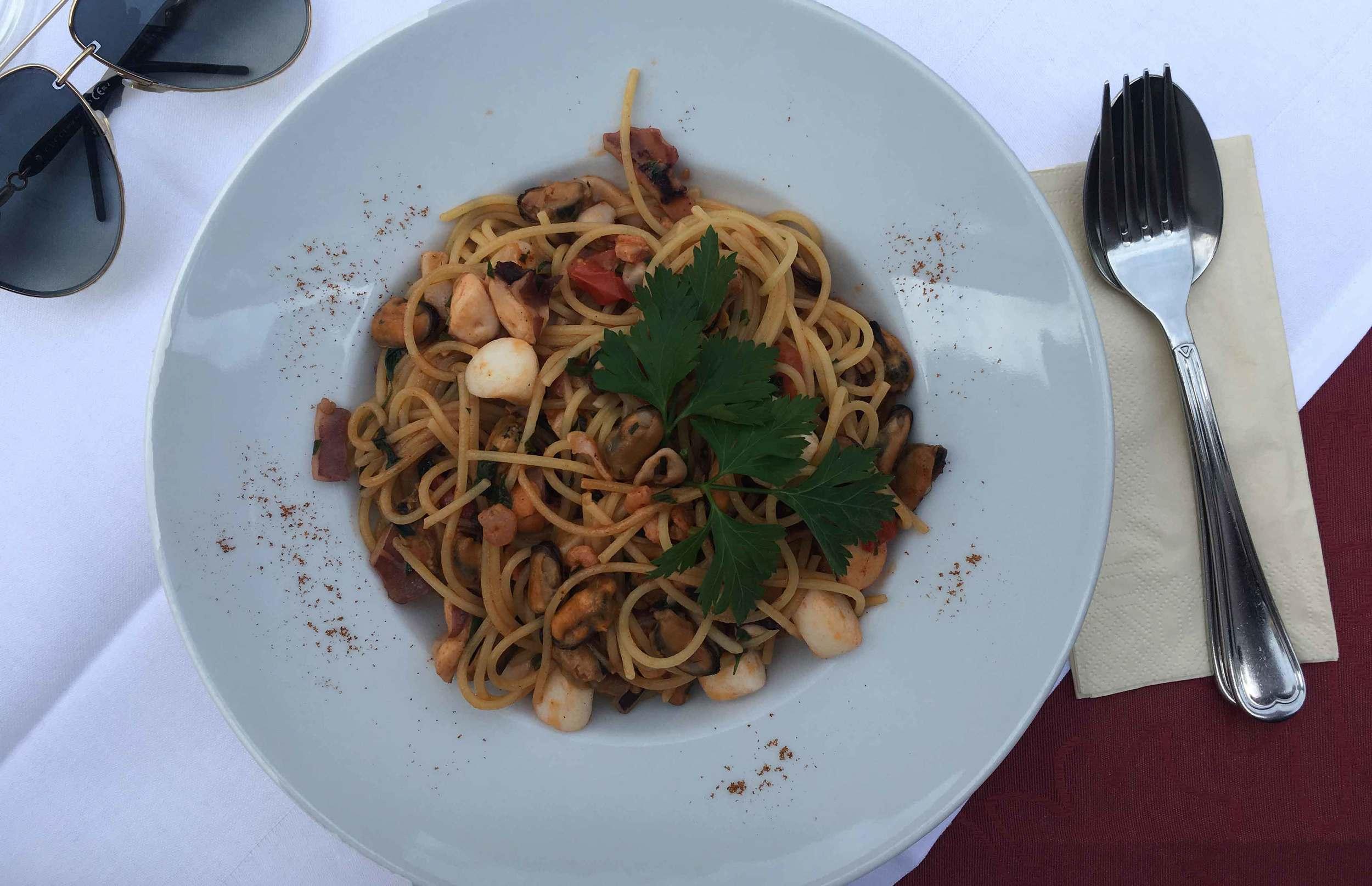 Pasta allo scoglio, seafood pasta, Italian restaurant, Baden Baden, Germany. Image©sourcingstyle.com