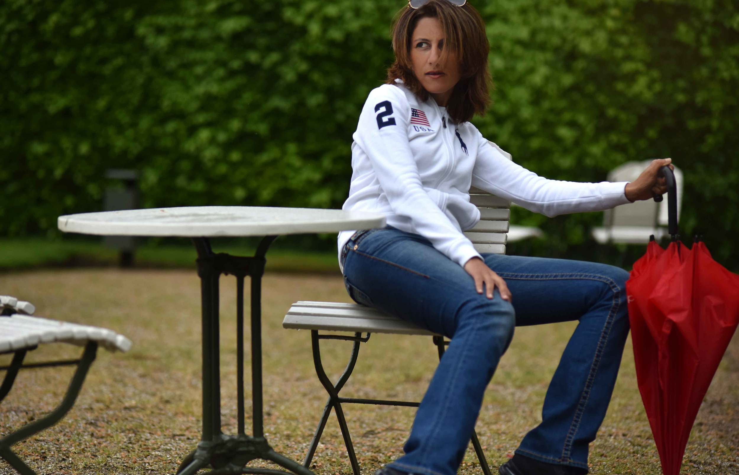 White Ralph Lauren Polo jacket, True Religion jeans, Gönneranlage, historic park, Baden Baden, Germany. Image©sourcingstyle.com