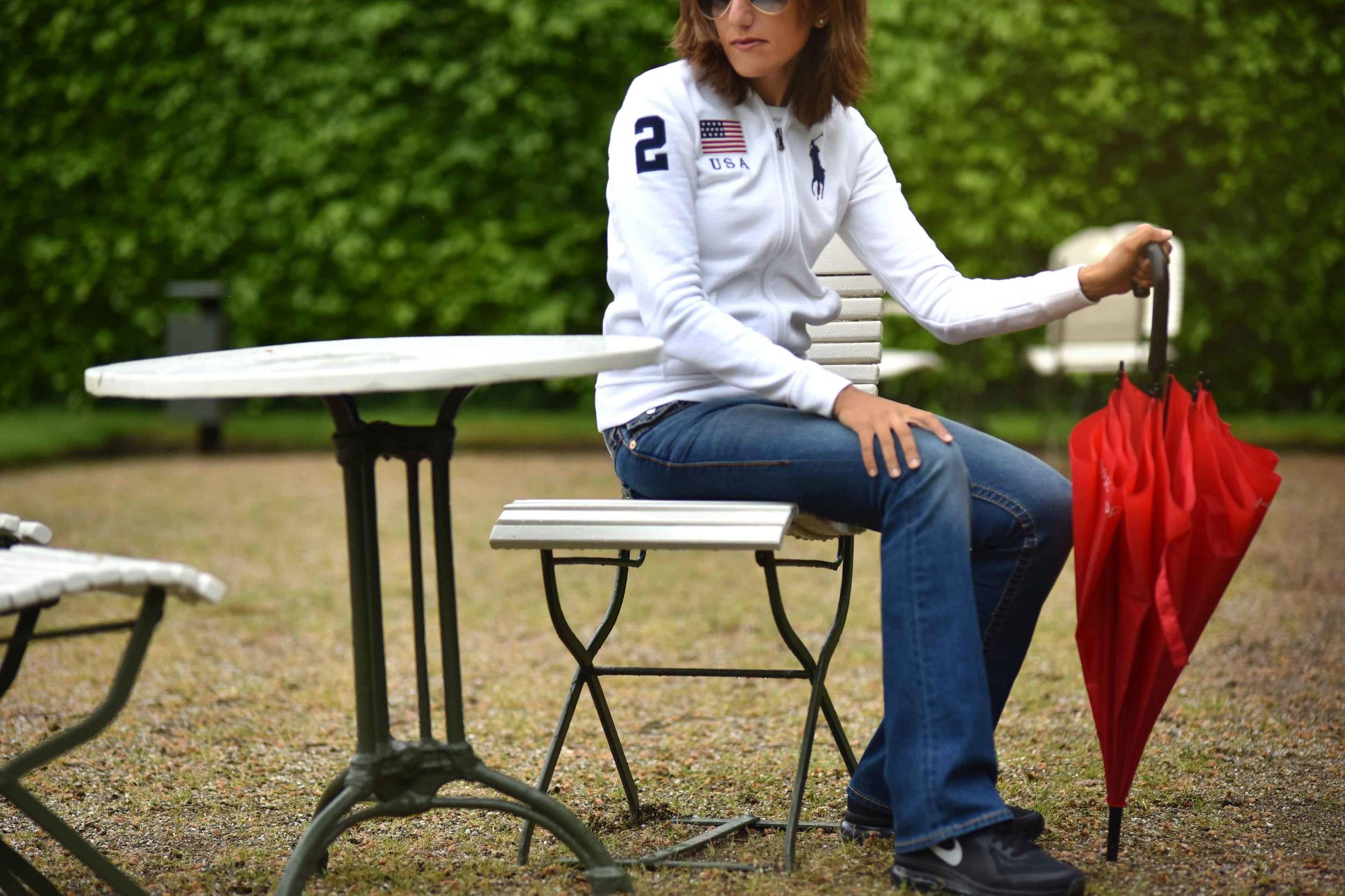 White Ralph Lauren Polo jacket, True Religion jeans, Nike sneakers, Gönneranlage, historic park, Baden Baden, Germany. Image©sourcingstyle.com