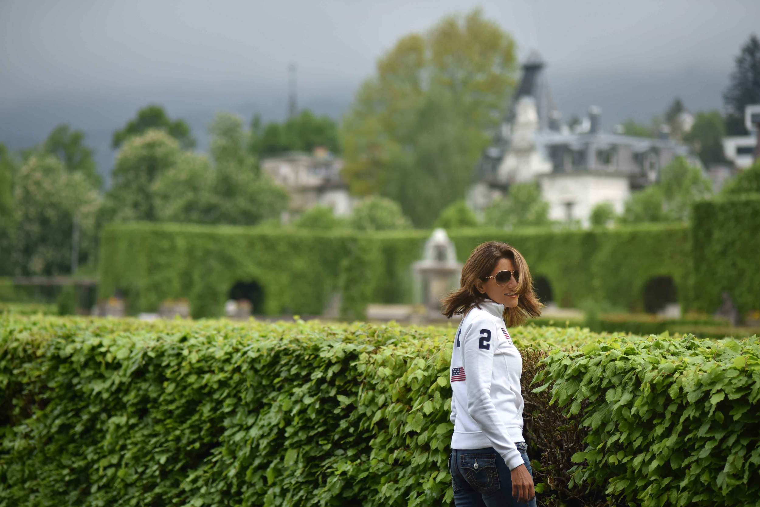 White Ralph Lauren Polo jacket, Gönneranlage, historic park, Baden Baden, Germany. Image©sourcingstyle.com