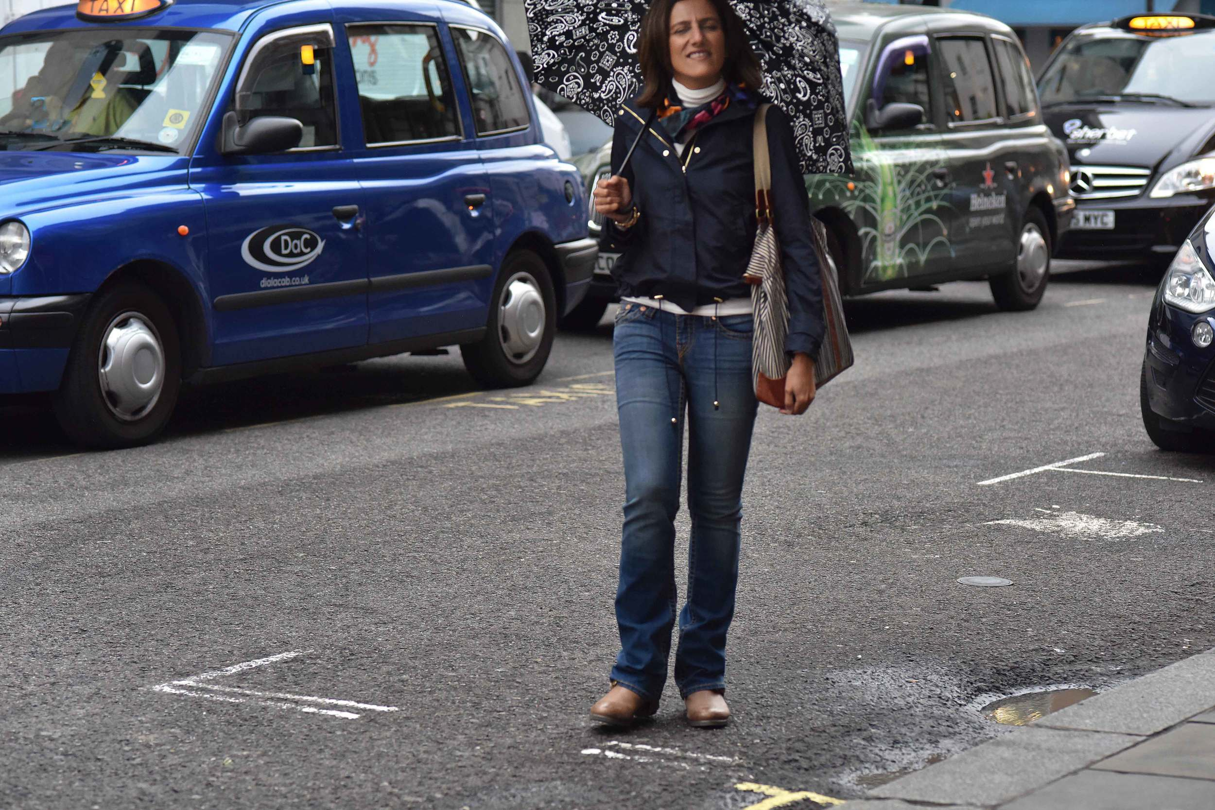 Zara water repellent jacket, Ralph Lauren polo sweater, Zara printed pocket square, Zara bandana print umbrella, True Religion jeans, Uggs boots, in front of London cabs, Covent Garden, London, UK. Image©sourcingstyle.com