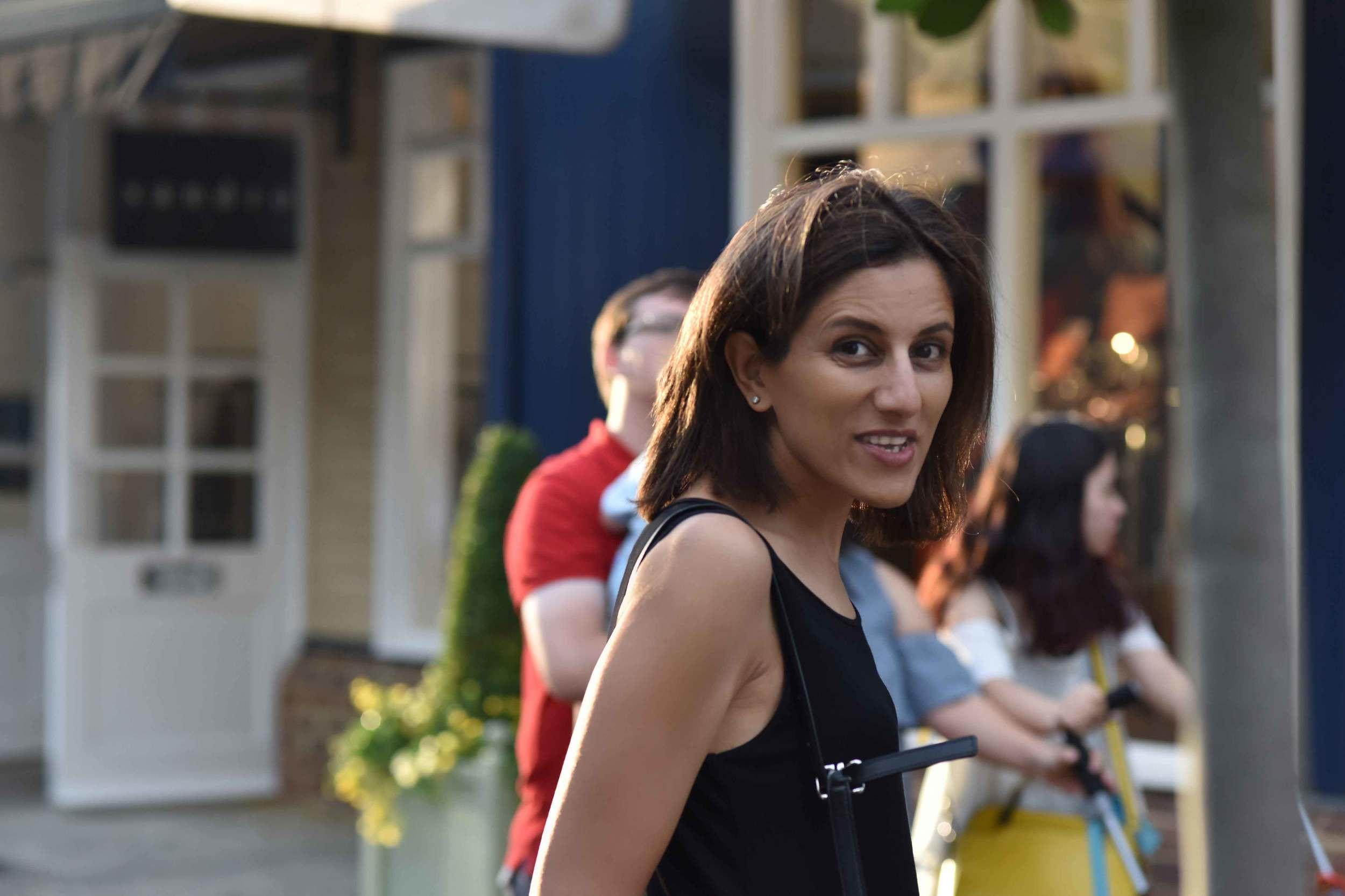 Eileen Fisher jersey tank dress, Bicester village, designer shopping outlet near London, UK. Image©sourcingstyle.com
