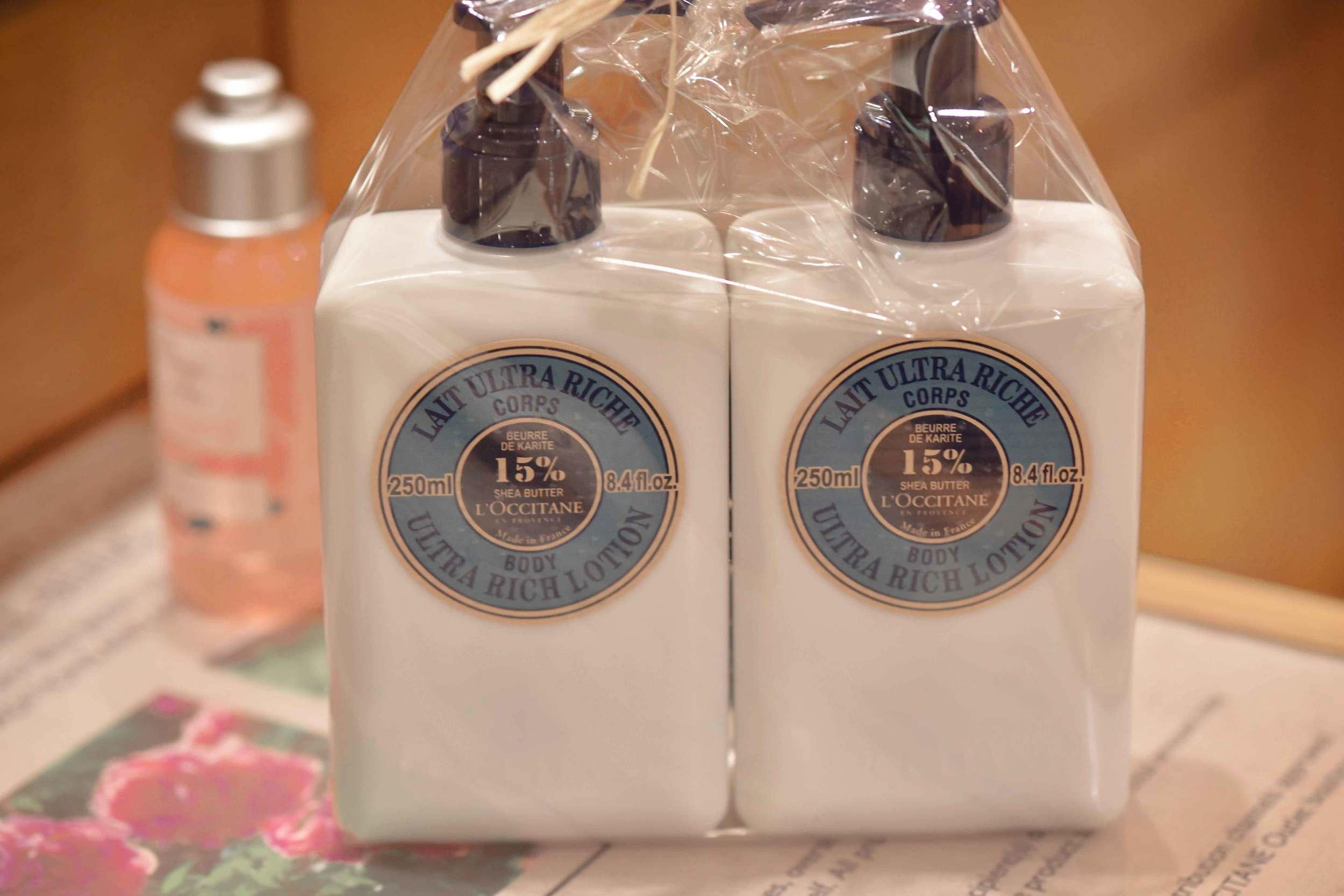 L'Occitane ultra rich body lotion, L'Occitane, Bicester village, designer shopping outlet near London, UK. Image©sourcingstyle.com