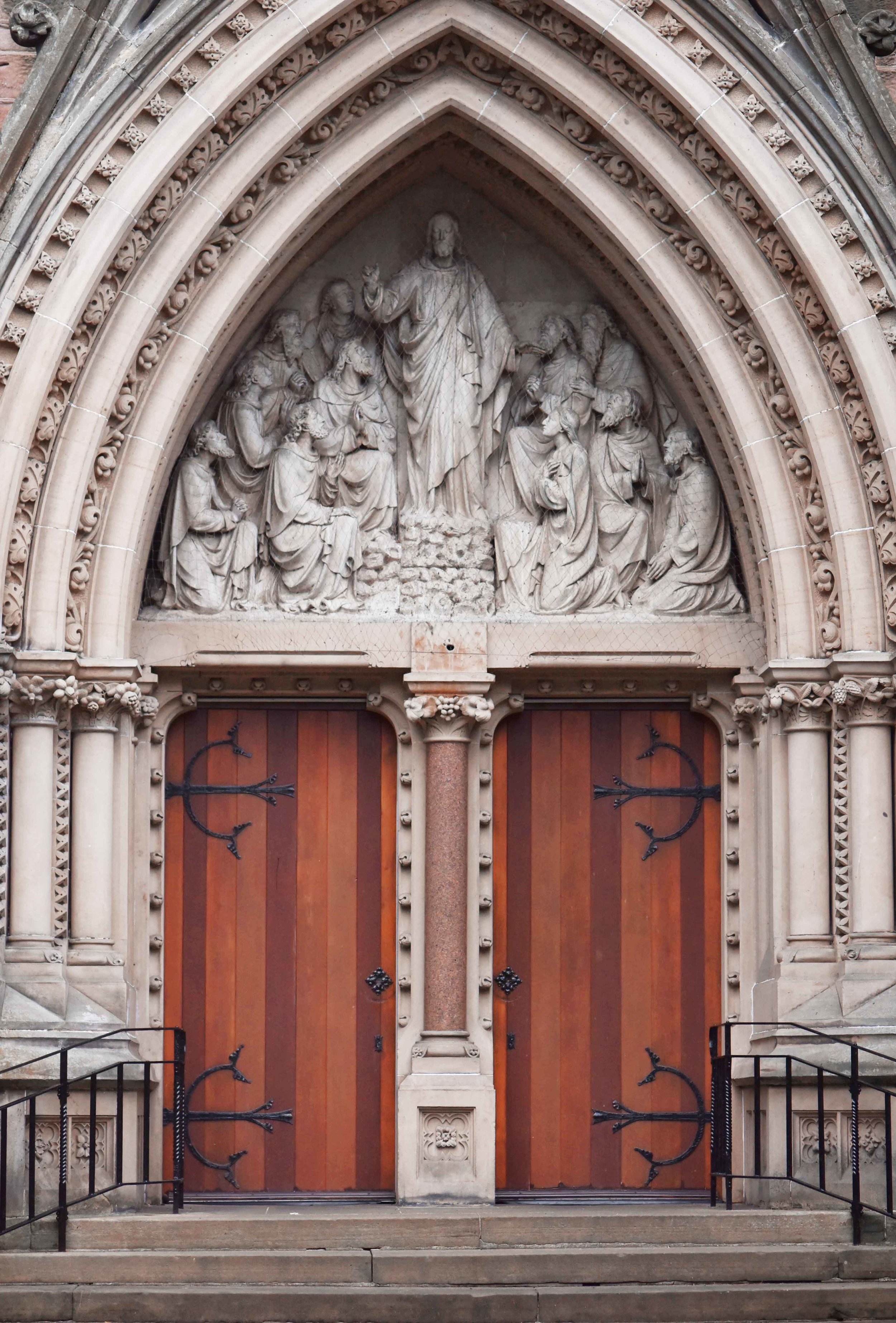 Church in Inverness, beautifully carved church door, Inverness, Scotland. Image©sourcingstyle.com