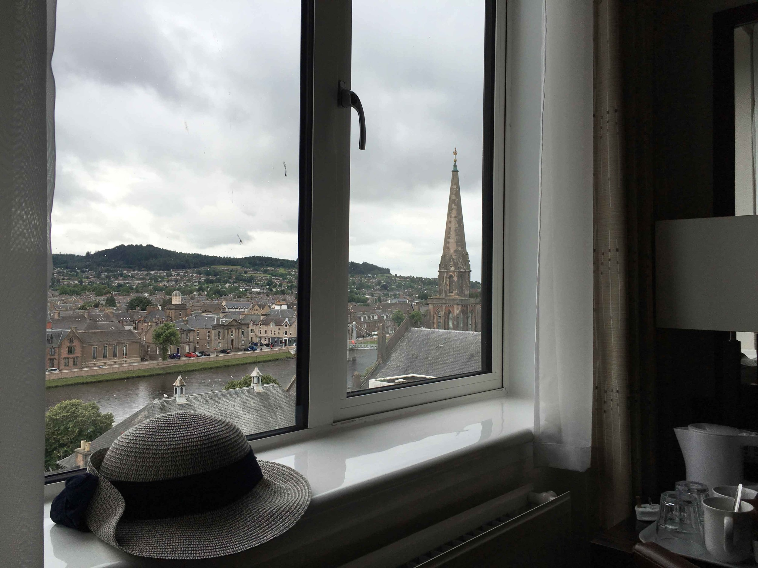 Mercure Inverness hotel, view of Old Town Inverness from my room window, Inverness, Scotland. Image©sourcingstyle.com