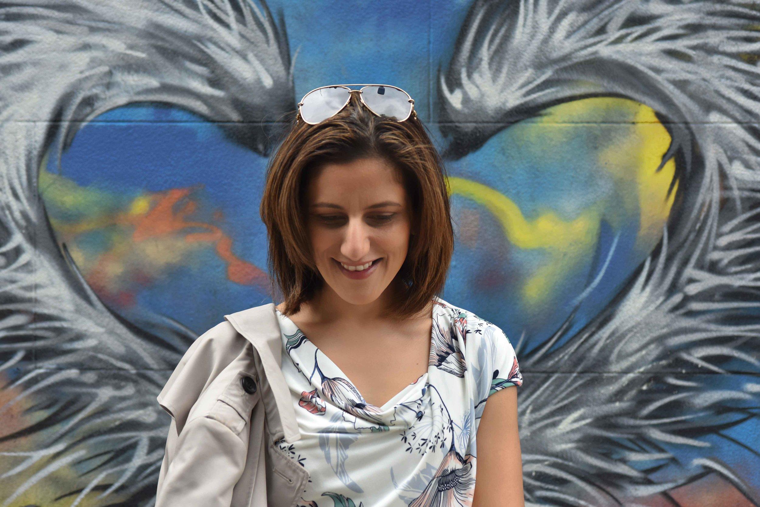 MNS dress, Graffiti artwork, Bricklane, street fashion, street art, Shoreditch, London, U.K. Photo: Nina Shaw, Image©sourcingstyle.com