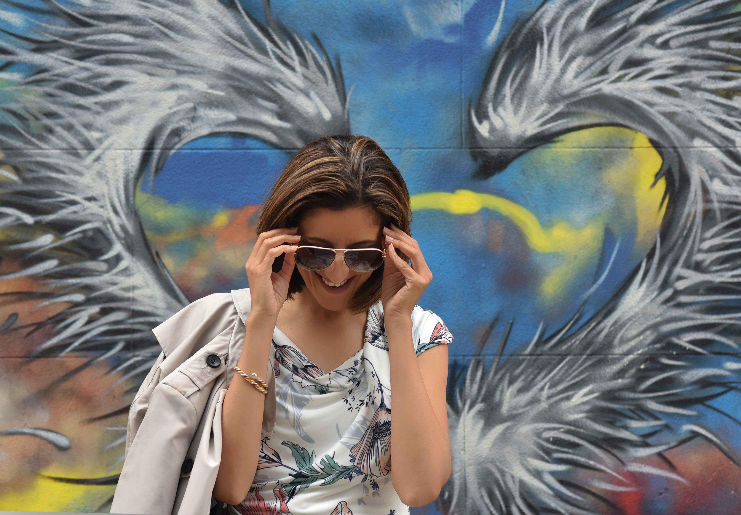 MNS dress, MNS trench, Gucci sunglasses, Graffiti artwork, street fashion, street art, Bricklane, Shoreditch, London, U.K. Photo: Nina Shaw, Image©sourcingstyle.com