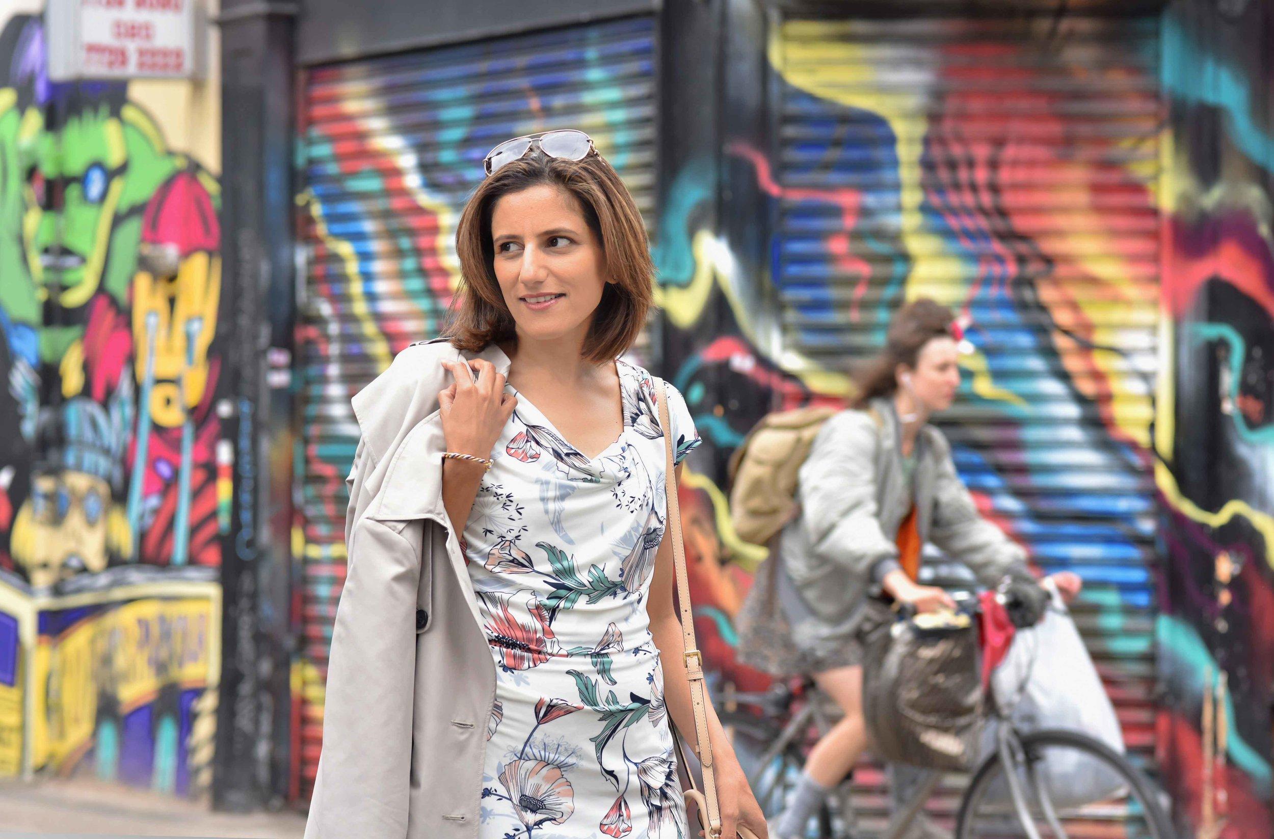 MNS shift dress, MNS trench, Graffiti artwork, street fashion, street art, Bricklane, Shoreditch, London, U.K. Photo: Nina Shaw, Image©sourcingstyle.com