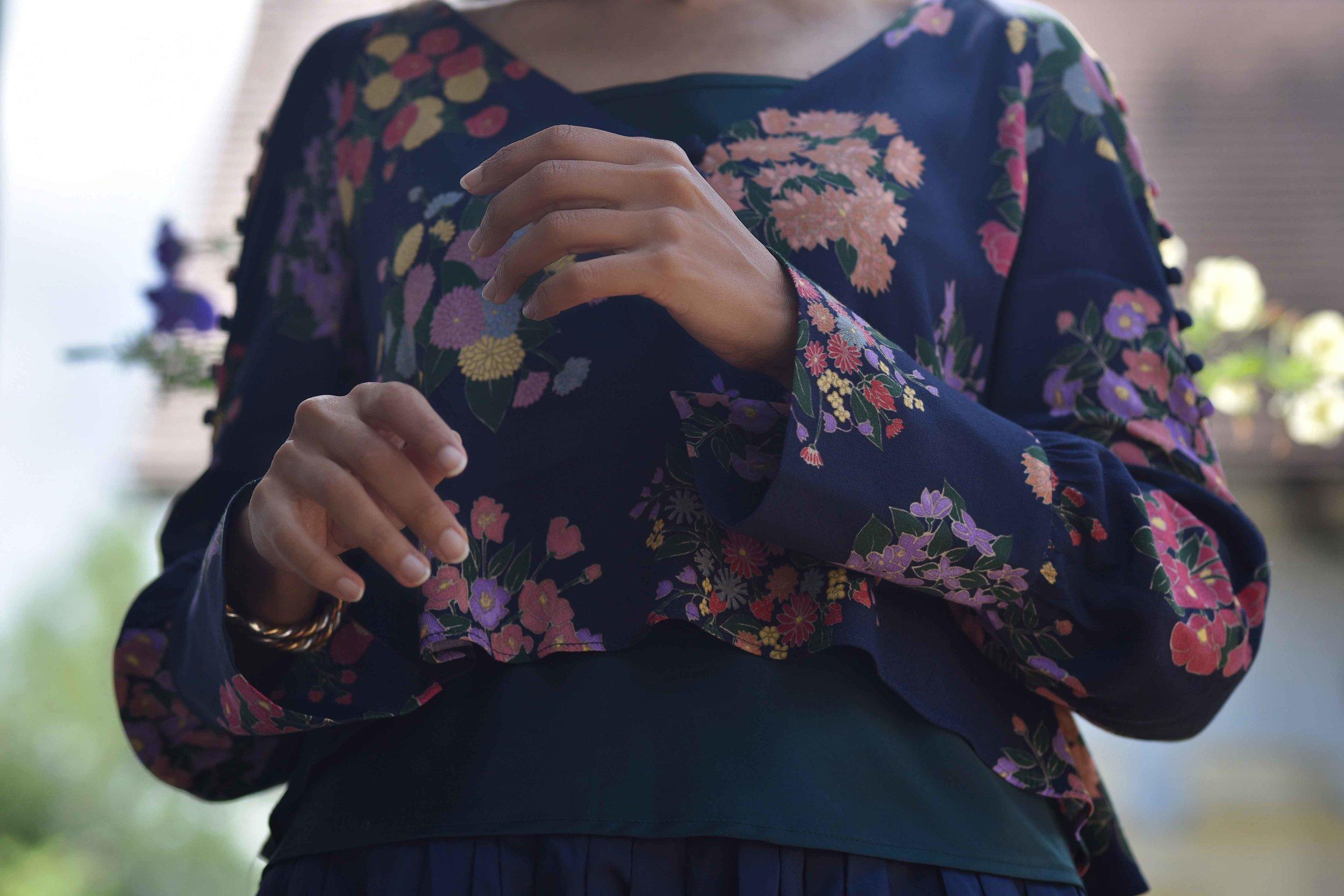 Zara floral top, Talbots silk camisole. Image©sourcingstyle.com