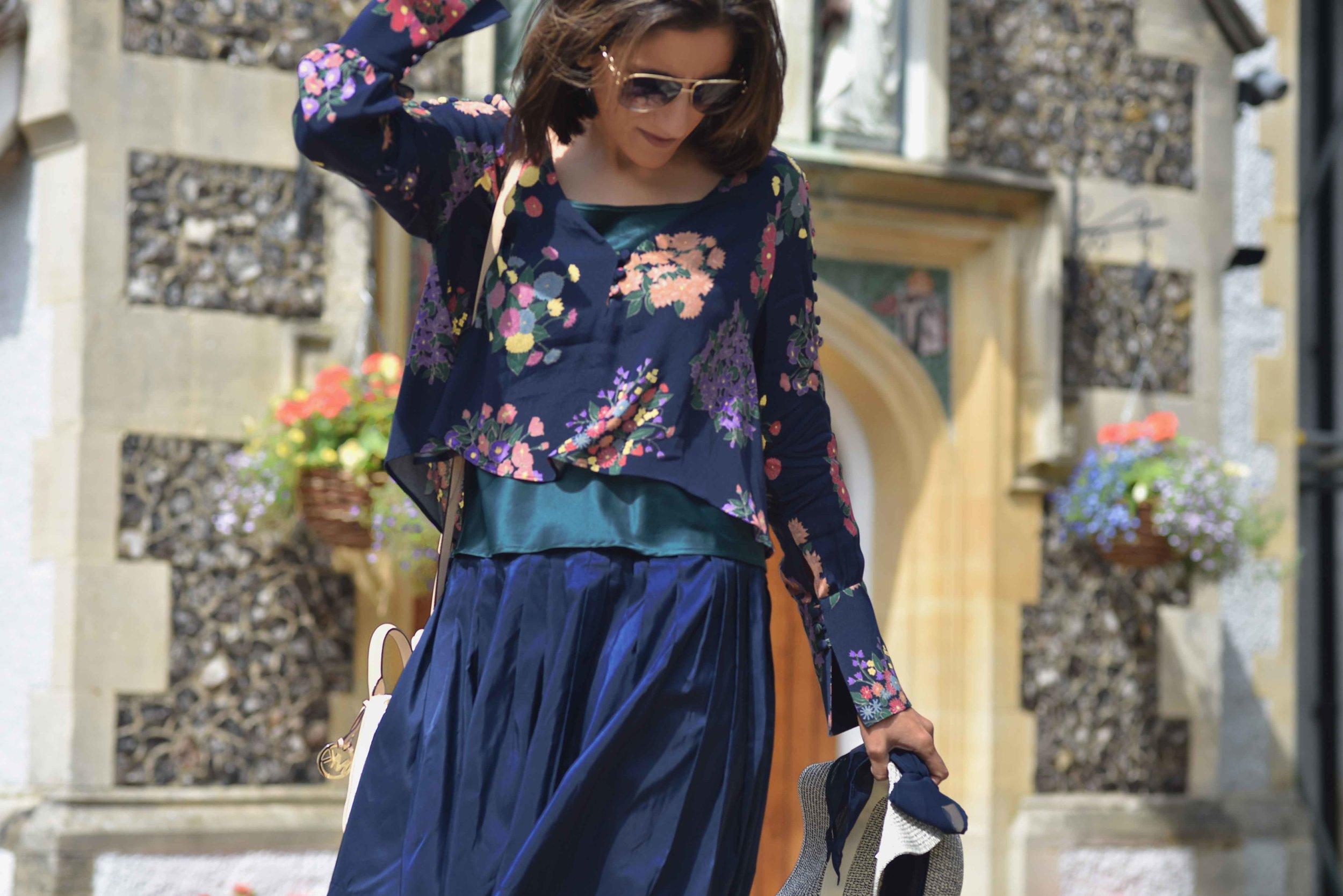 Zara floral top, Talbots silk Taffeta skirt, Talbots silk camisole, M&S hat. Image©sourcingstyle.com