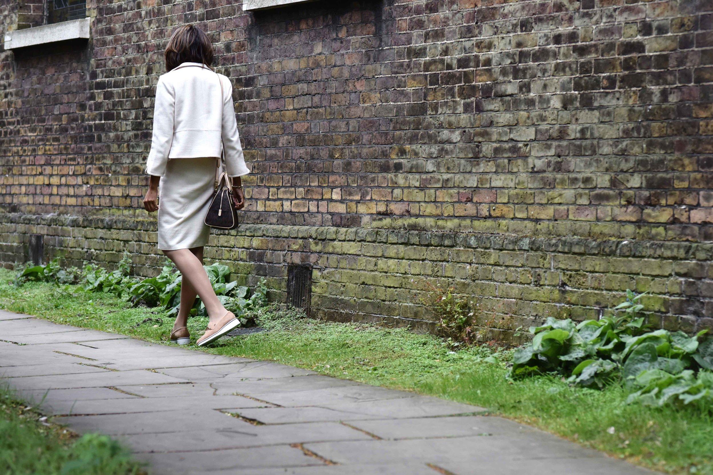 Talbots shift dress and jacket, Michael Kors bag, River Island shoes. Image©sourcingstyle.com