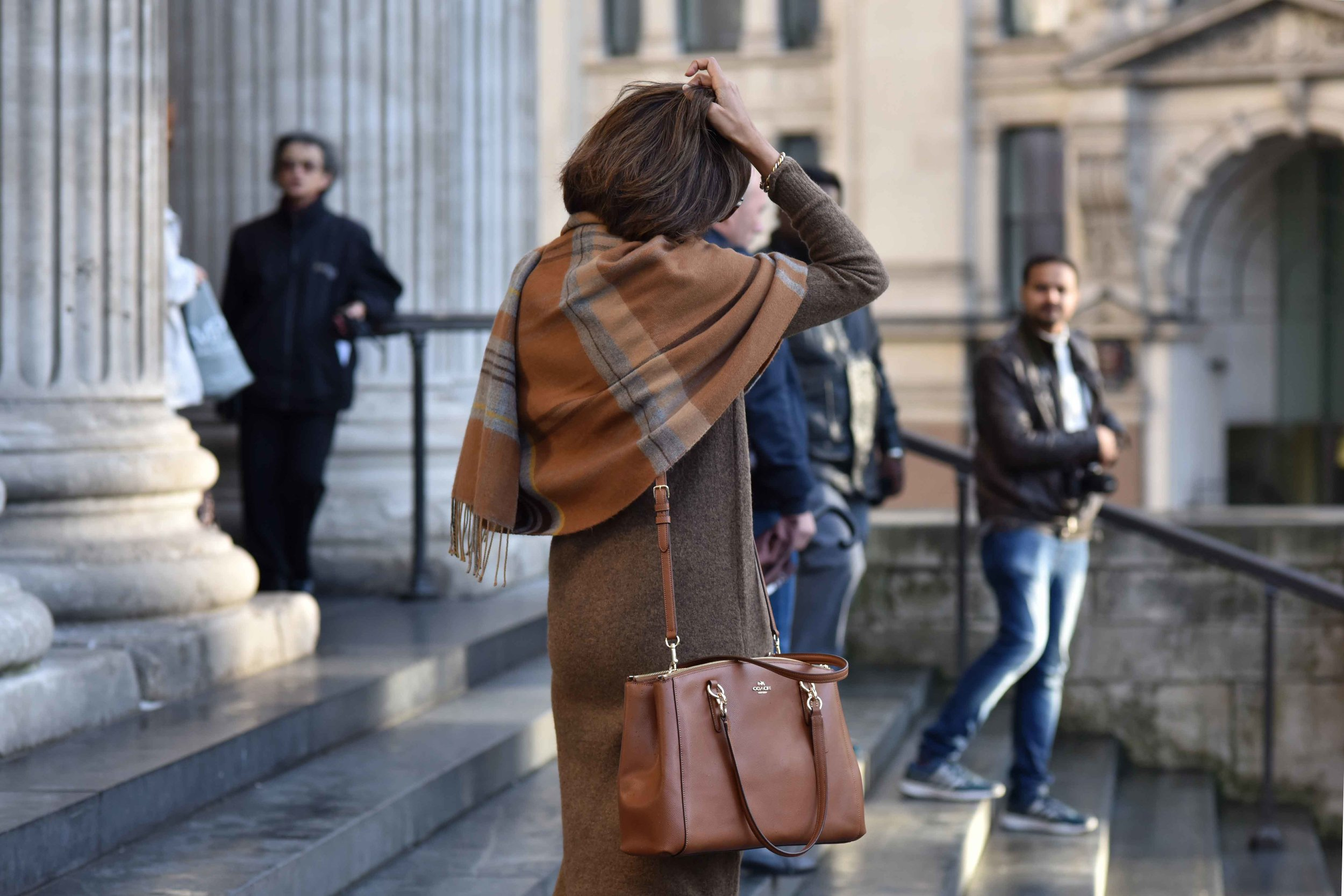 Marks & Spencer sweater dress, Marks & Spencer plaid scarf, Coach handbag. Photo: Alizeh Latif. Image©sourcingstyle.com.