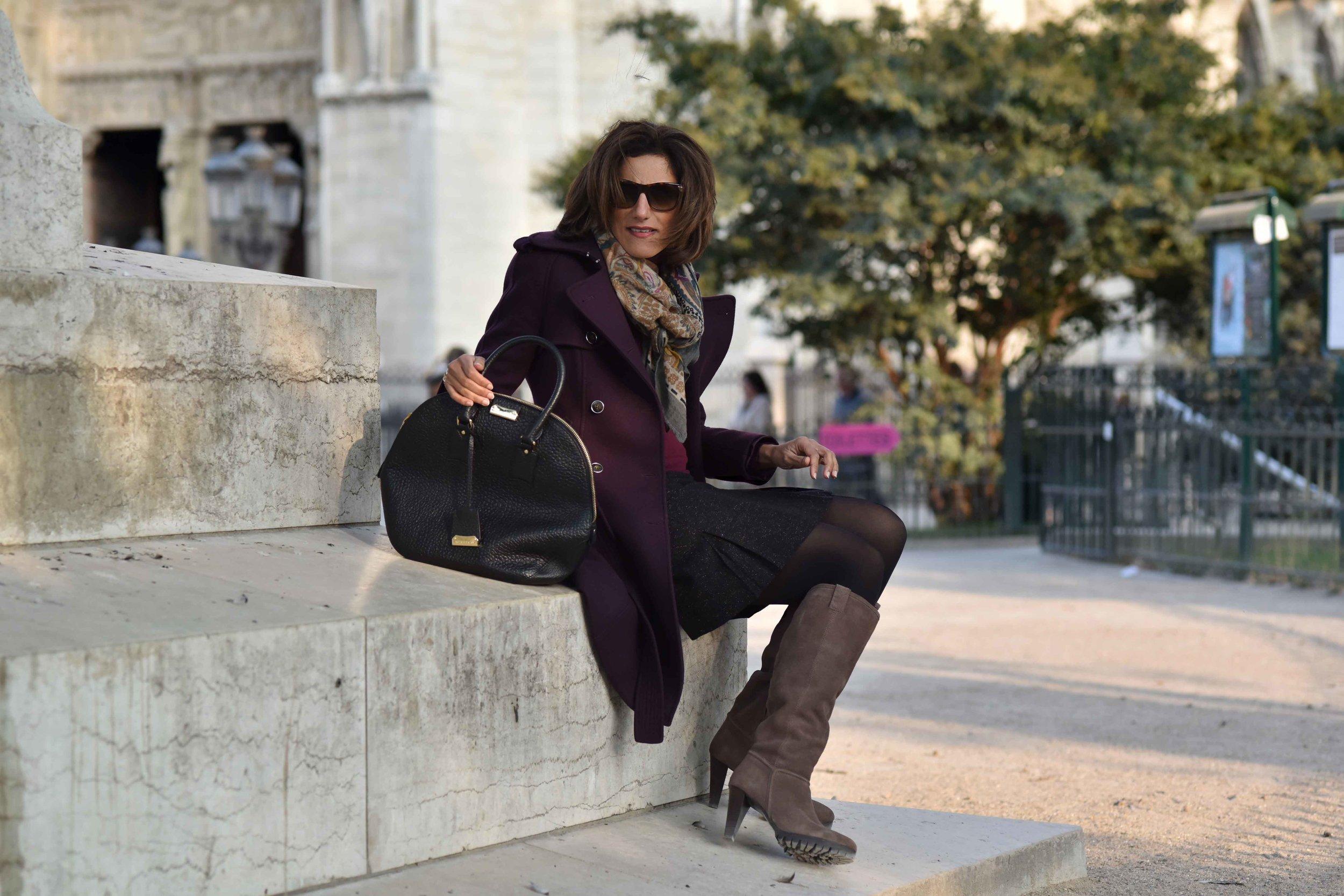 Karen Millen fall winter coat, Karen Millen boots, Talbots skirt, Ralph Lauren polo neck sweater, Burberry bag, Hallhuber scarf, Guccci sunglasses, Notre-Dame, Paris. Image©sourcingstyle.com