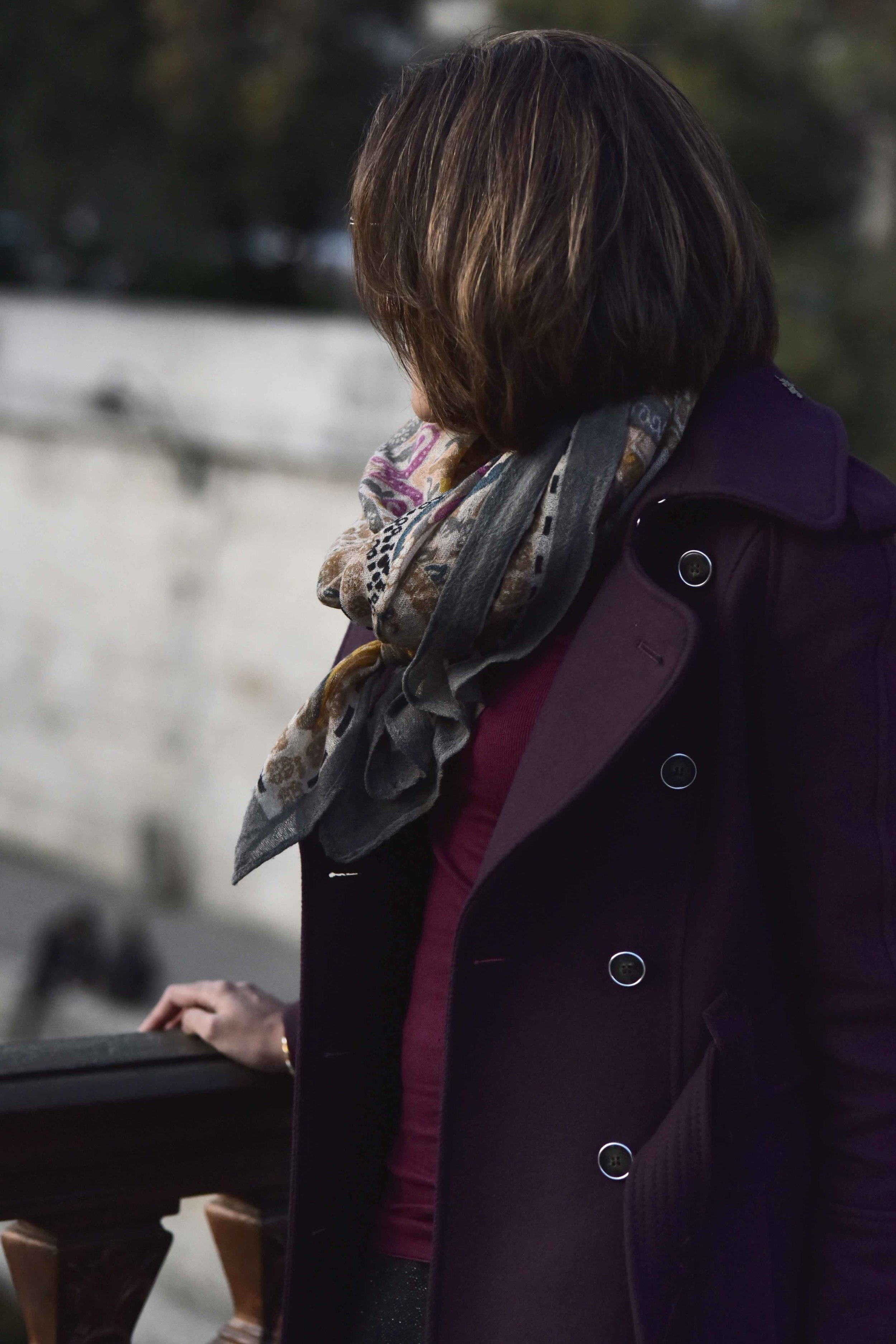 Karen Millen fall winter coat, Ralph Lauren polo neck sweater, Hallhuber scarf, Notre-Dame, Paris. Image©sourcingstyle.com