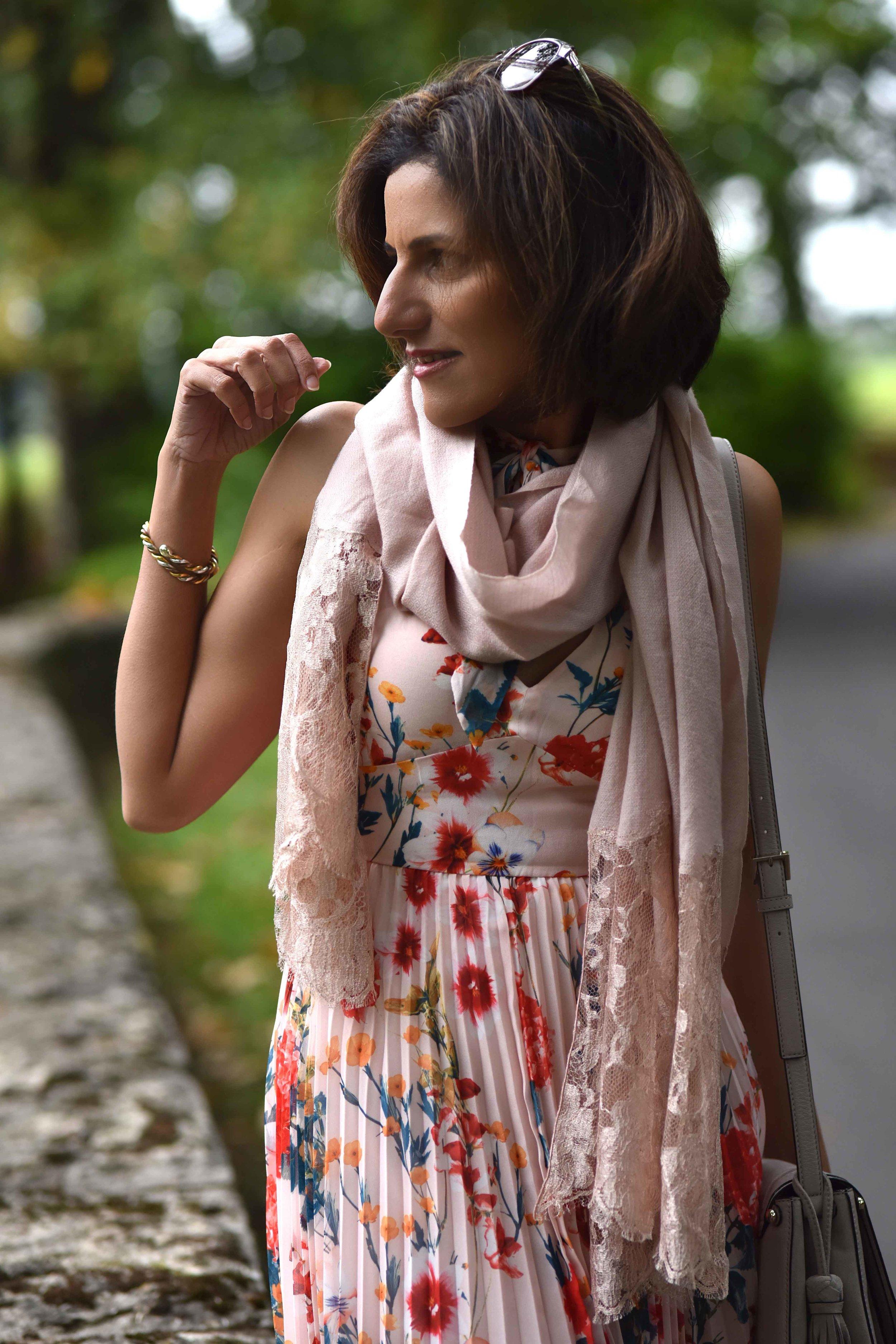 Karen Millen floral dress, Coworth Park Hotel, Ascot, U.K. Image©sourcingstyle.com