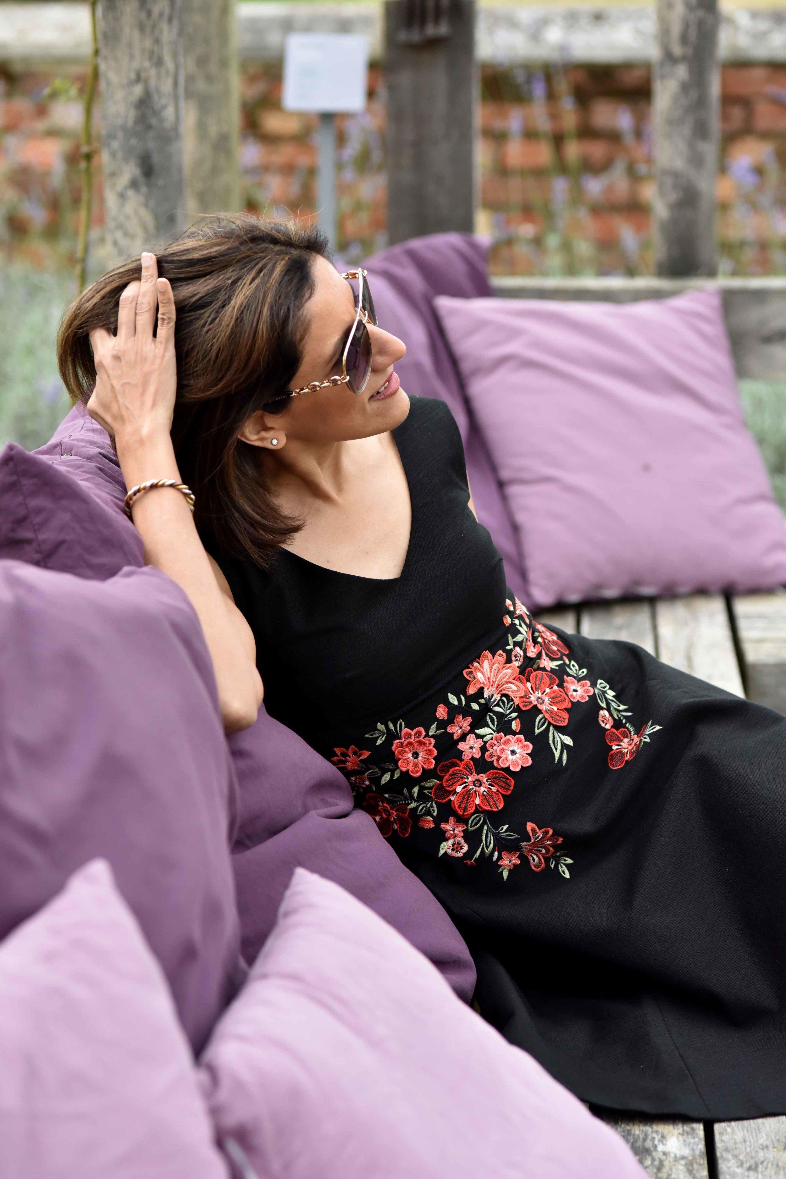 Karen Millen black embroidered dress, Coworth Park hotel, Dorchester Collection, UK. Image©sourcingstyle.com