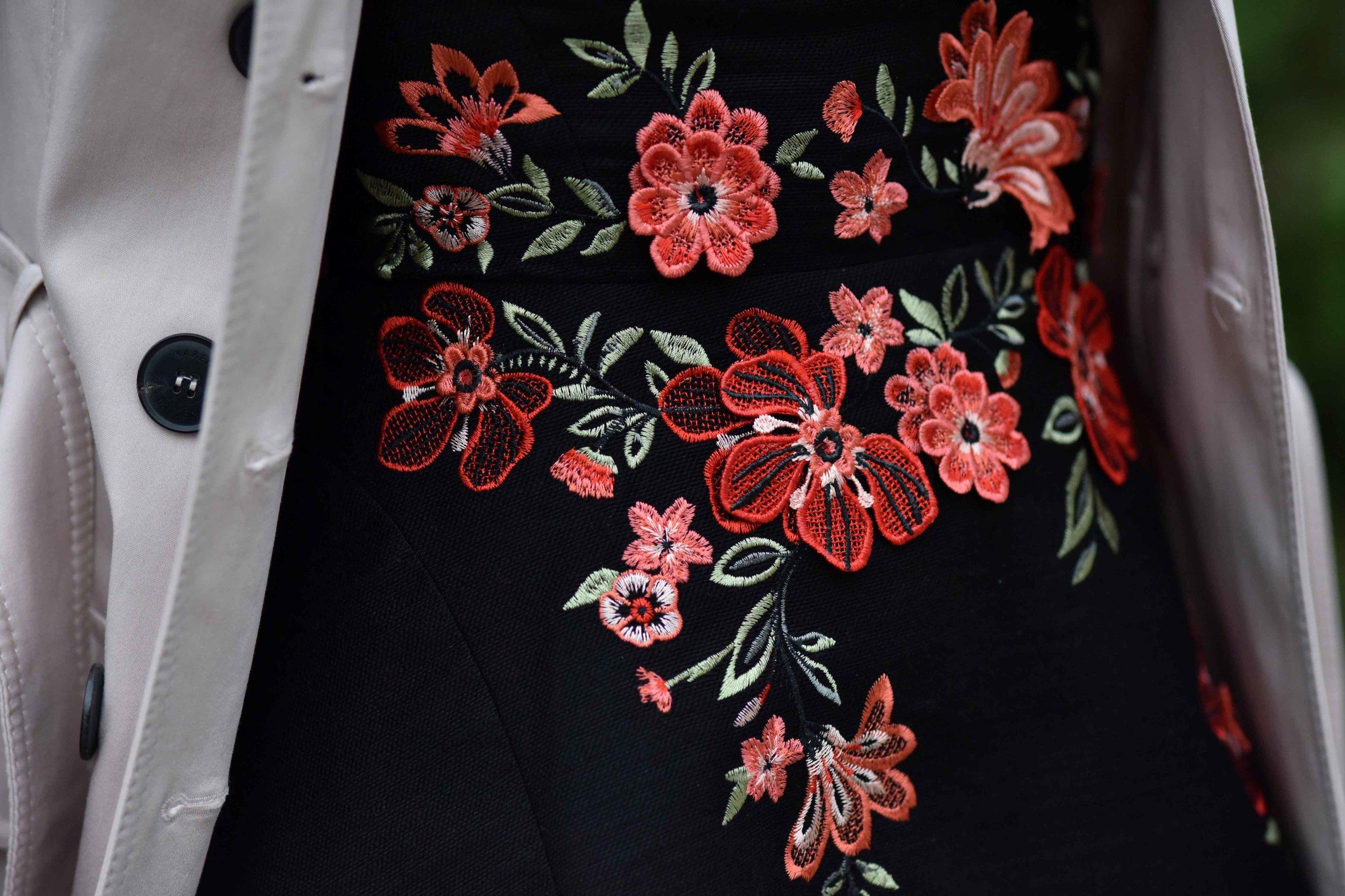 Karen Millen black embroidered dress, sandals, Coworth Park hotel, Dorchester Collection, UK. Image©sourcingstyle.com