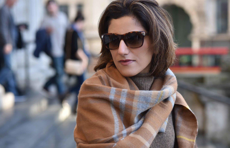 Marks & Spencer sweater dress, Marks & Spencer plaid scarf, Gucci sunglasses. Image©sourcingstyle.com. Photo: Alizeh Latif.