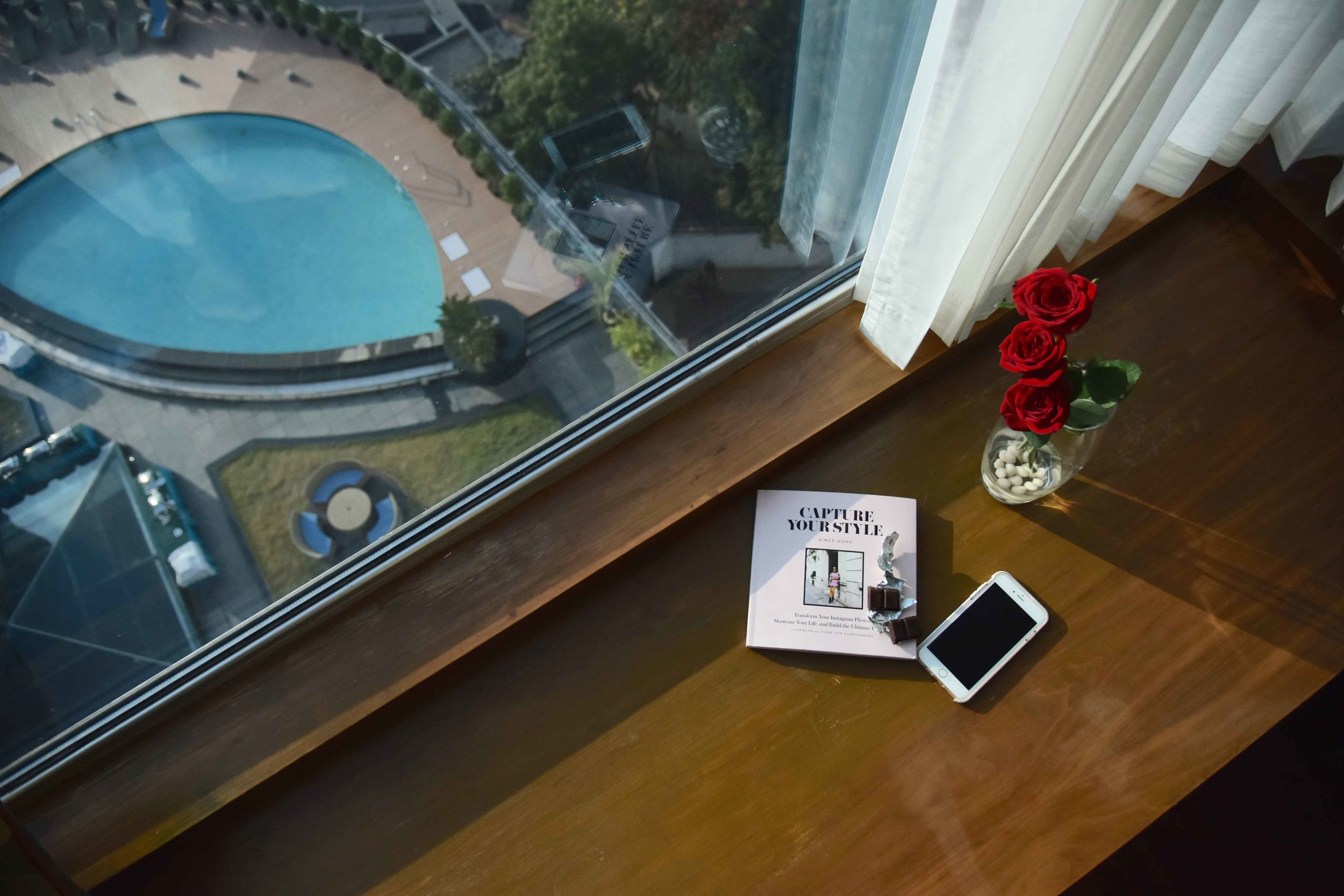 Radisson Blu Hotel, a view of the pool from my room, Ranchi, Jharkhand, India. Image©sourcingstyle.com.