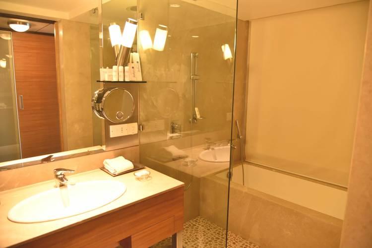 Radisson Blu Hotel, bathroom, showers, Business Class room, Ranchi, Jharkhand, India. Image©sourcingstyle.com.
