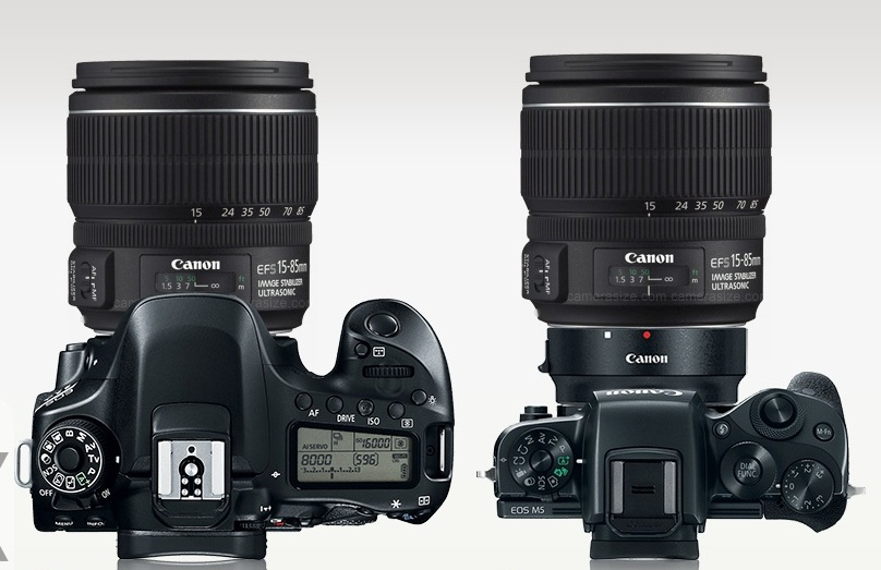 The difference to (left) Canon 80D with lens and (right) Canon M5 w/ adapter and same lens is non-existent.