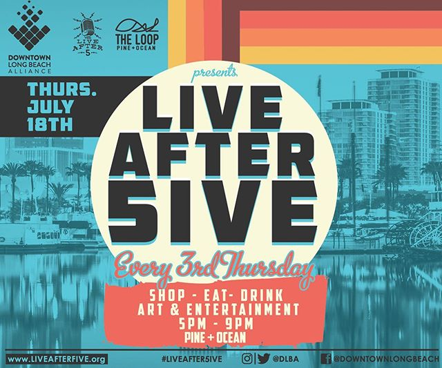 Join us this Thursday for Live After 5ive July 🎙 👉🏽 Free Live Music 👉🏽 Extended Happy hour 🍻 👉🏽 Free Trolley and Big Red Bus 🚎🚌 📍Pine + Ocean ⌚️ 5PM -9PM  #liveafter5ive #downtownlongbeach #longbeachca #lbc #dtlb